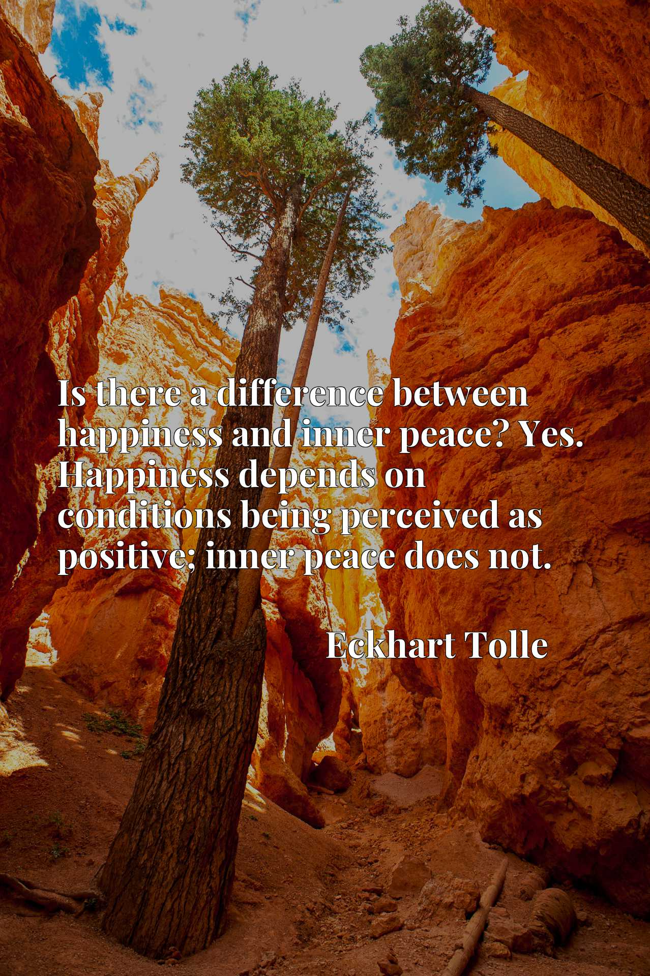 Is there a difference between happiness and inner peace? Yes. Happiness depends on conditions being perceived as positive; inner peace does not.
