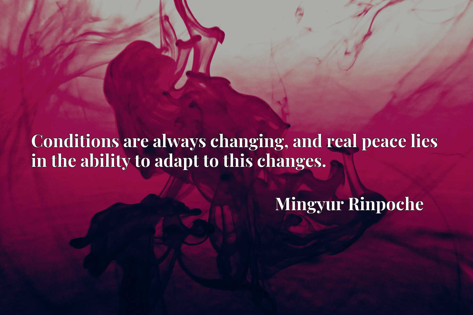 Quote Picture :Conditions are always changing, and real peace lies in the ability to adapt to this changes.