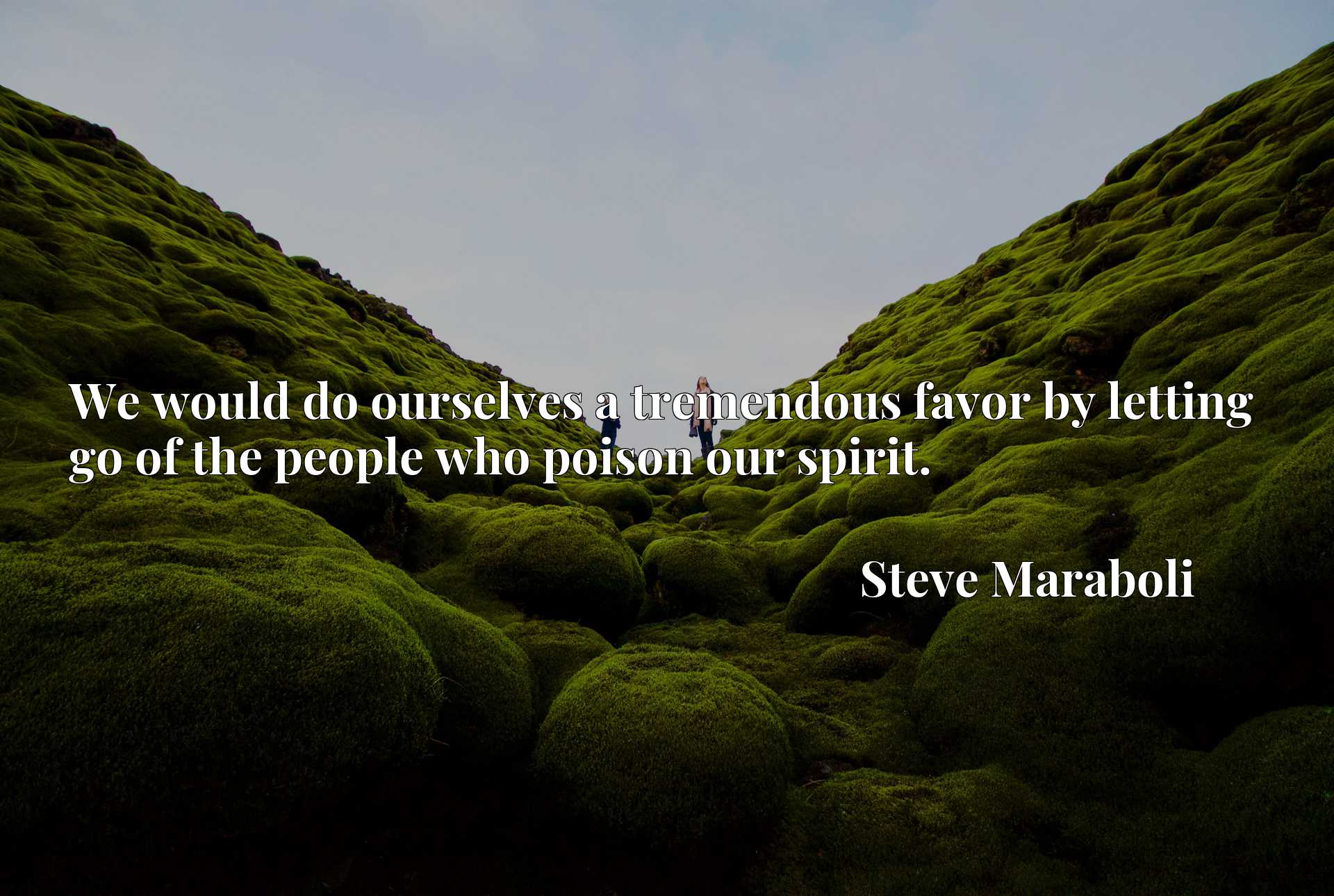 Quote Picture :We would do ourselves a tremendous favor by letting go of the people who poison our spirit.