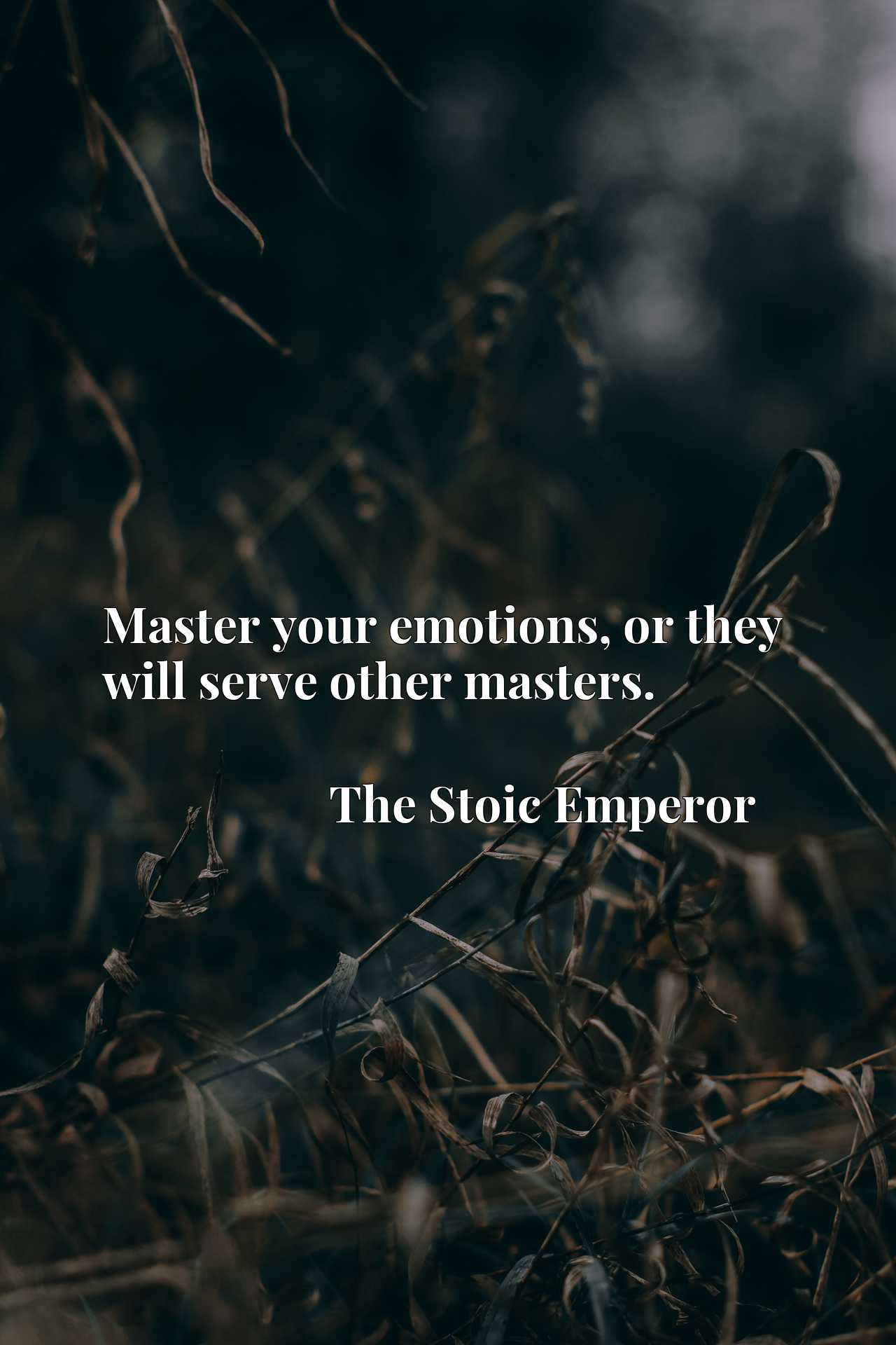 Quote Picture :Master your emotions, or they will serve other masters.