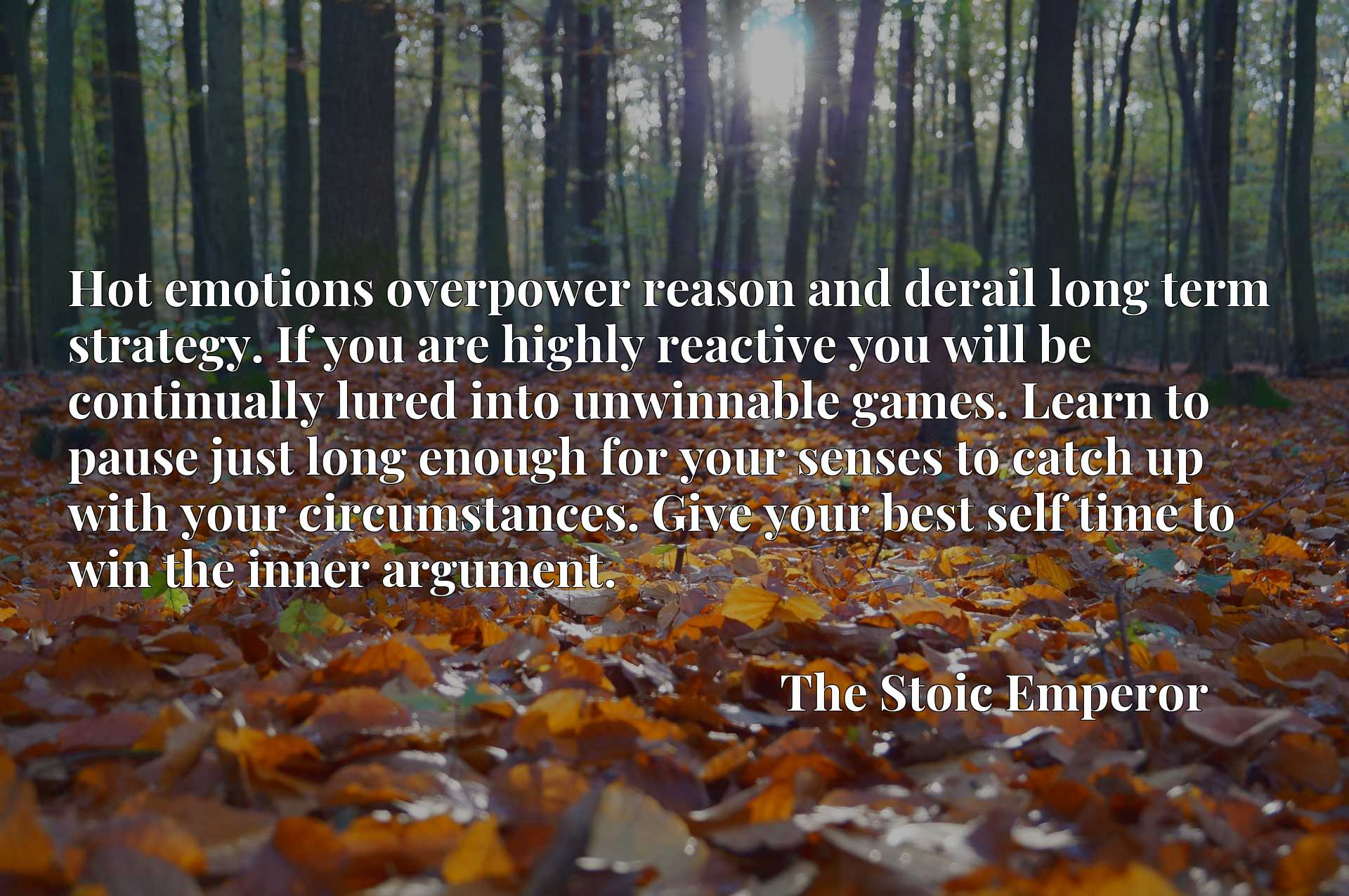 Quote Picture :Hot emotions overpower reason and derail long term strategy. If you are highly reactive you will be continually lured into unwinnable games. Learn to pause just long enough for your senses to catch up with your circumstances. Give your best self time to win the inner argument.