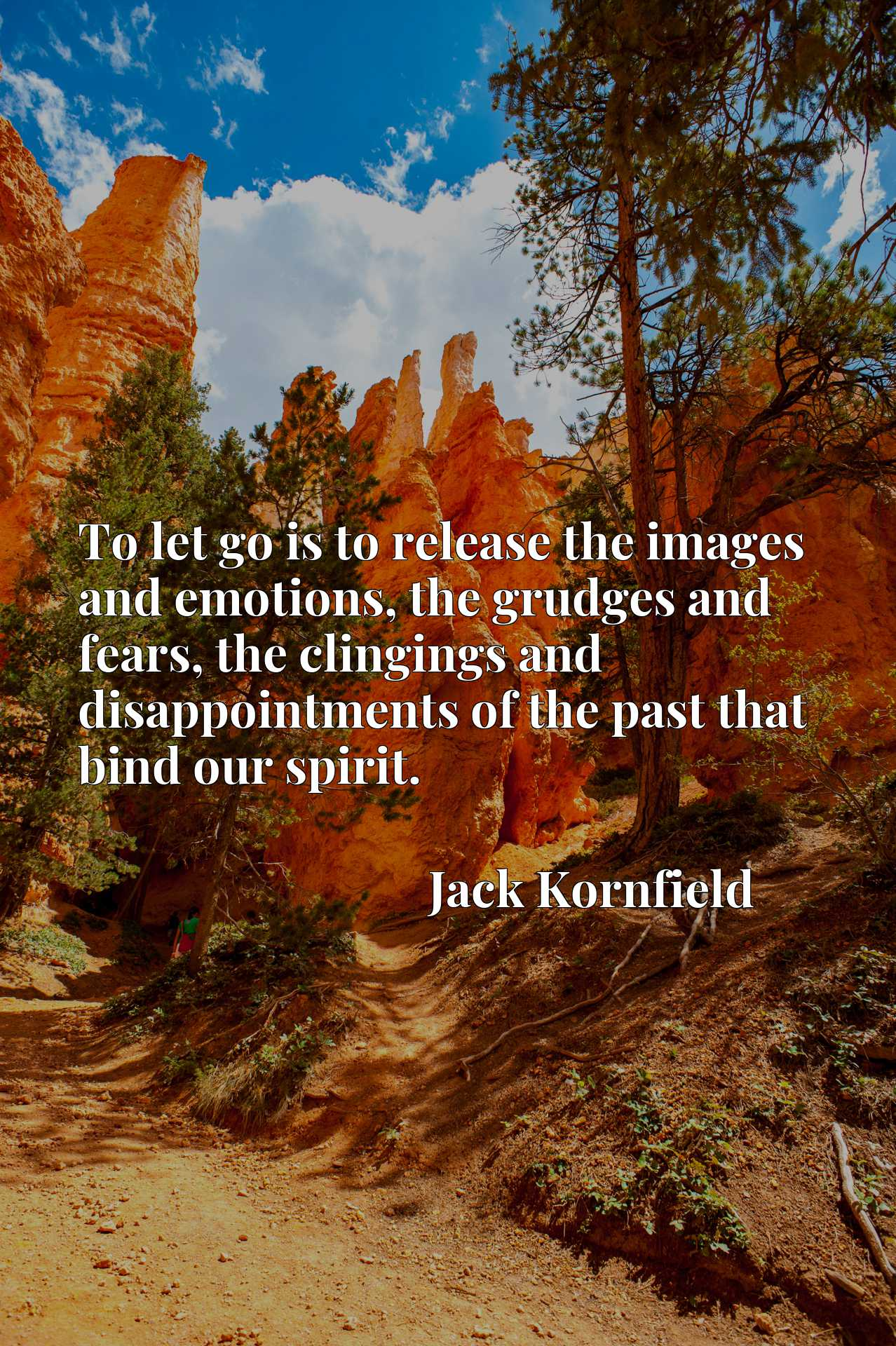 Quote Picture :To let go is to release the images and emotions, the grudges and fears, the clingings and disappointments of the past that bind our spirit.