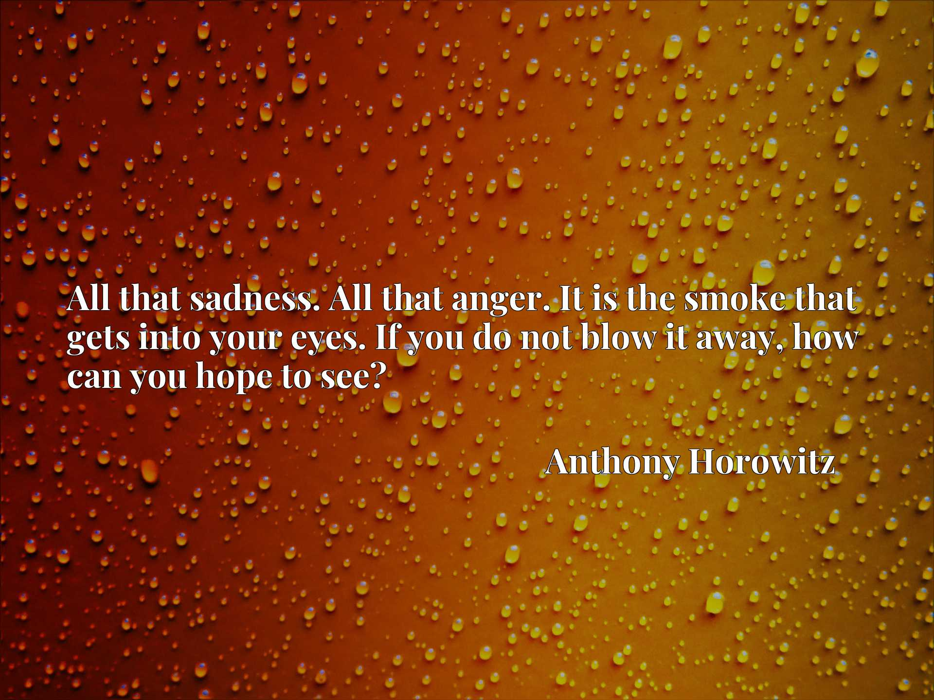 Quote Picture :All that sadness. All that anger. It is the smoke that gets into your eyes. If you do not blow it away, how can you hope to see?