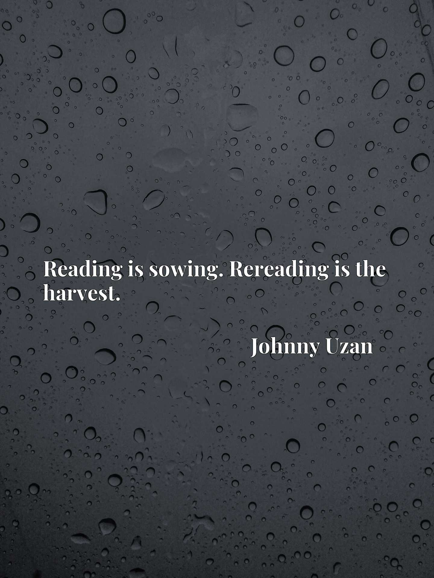 Reading is sowing. Rereading is the harvest.