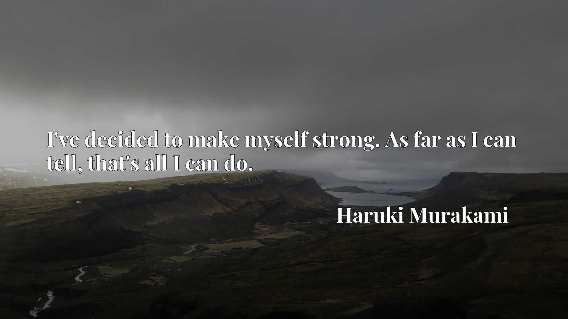 Quote Picture :I've decided to make myself strong. As far as I can tell, that's all I can do.