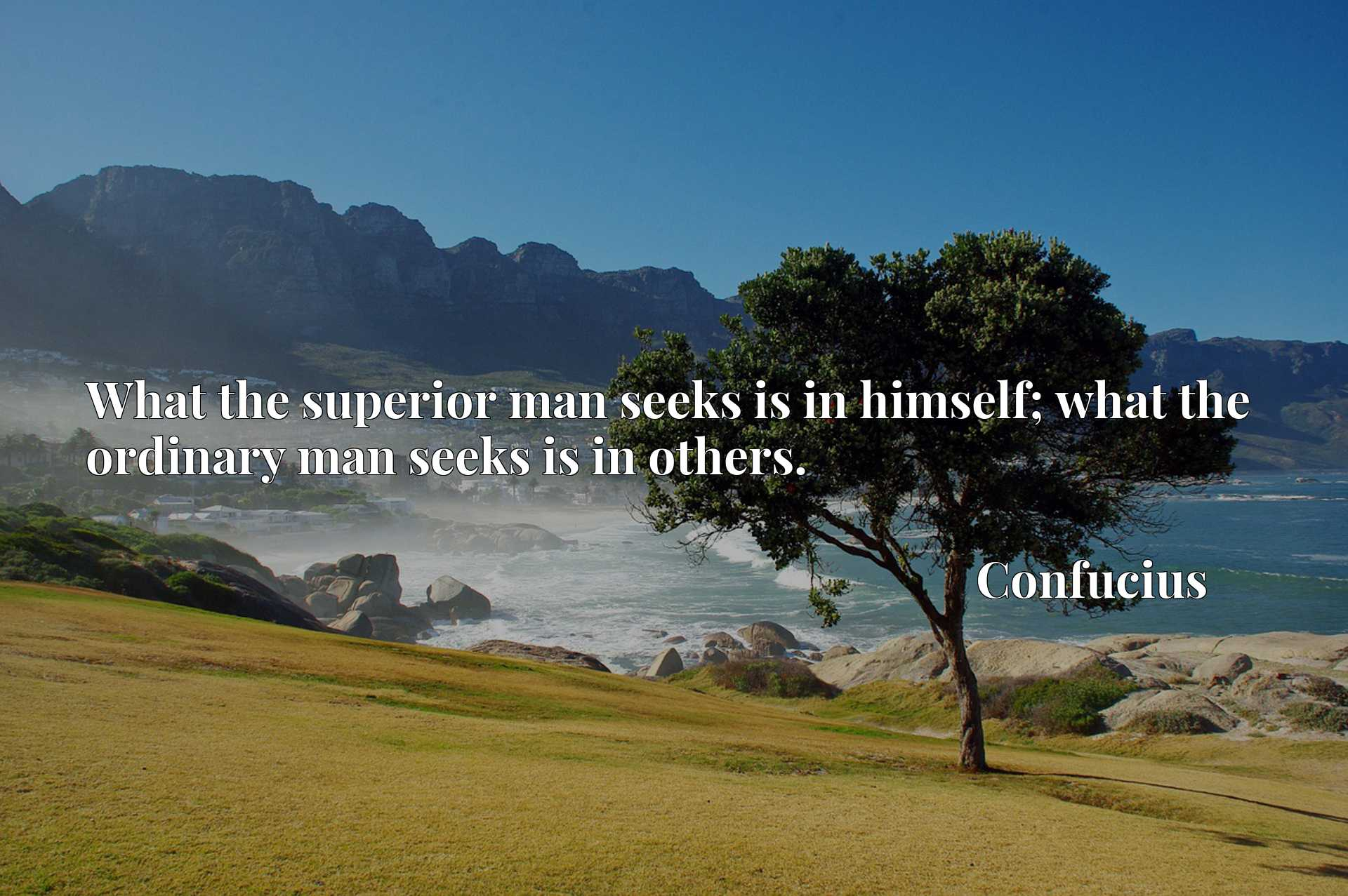Quote Picture :What the superior man seeks is in himself; what the ordinary man seeks is in others.