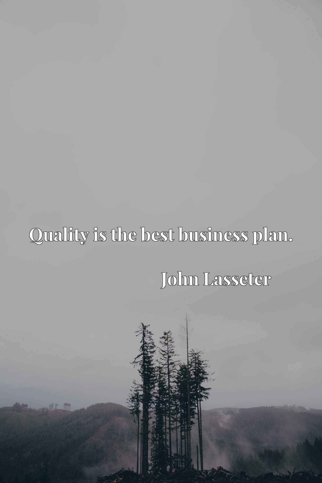 Quote Picture :Quality is the best business plan.