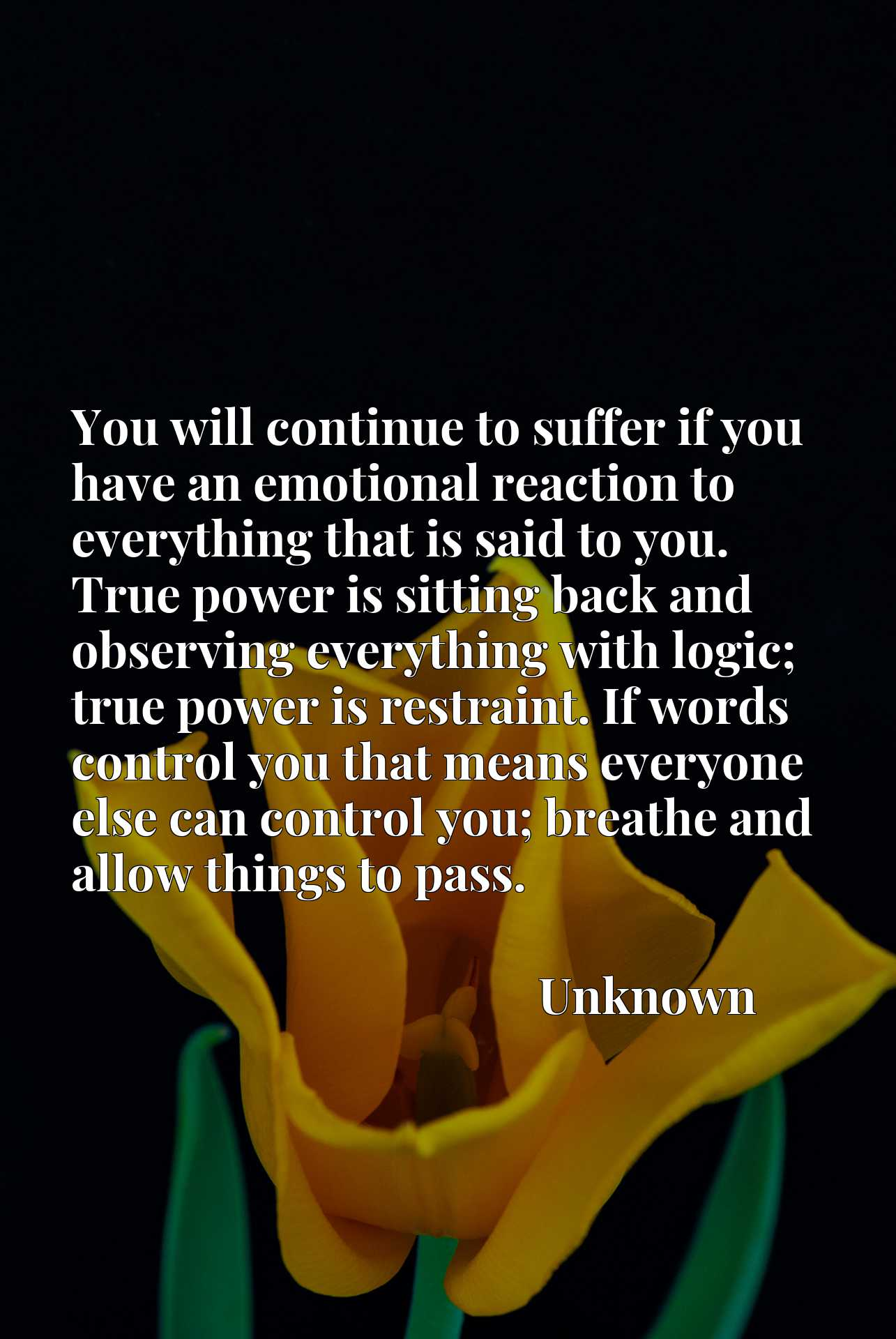 Quote Picture :You will continue to suffer if you have an emotional reaction to everything that is said to you. True power is sitting back and observing everything with logic; true power is restraint. If words control you that means everyone else can control you; breathe and allow things to pass.