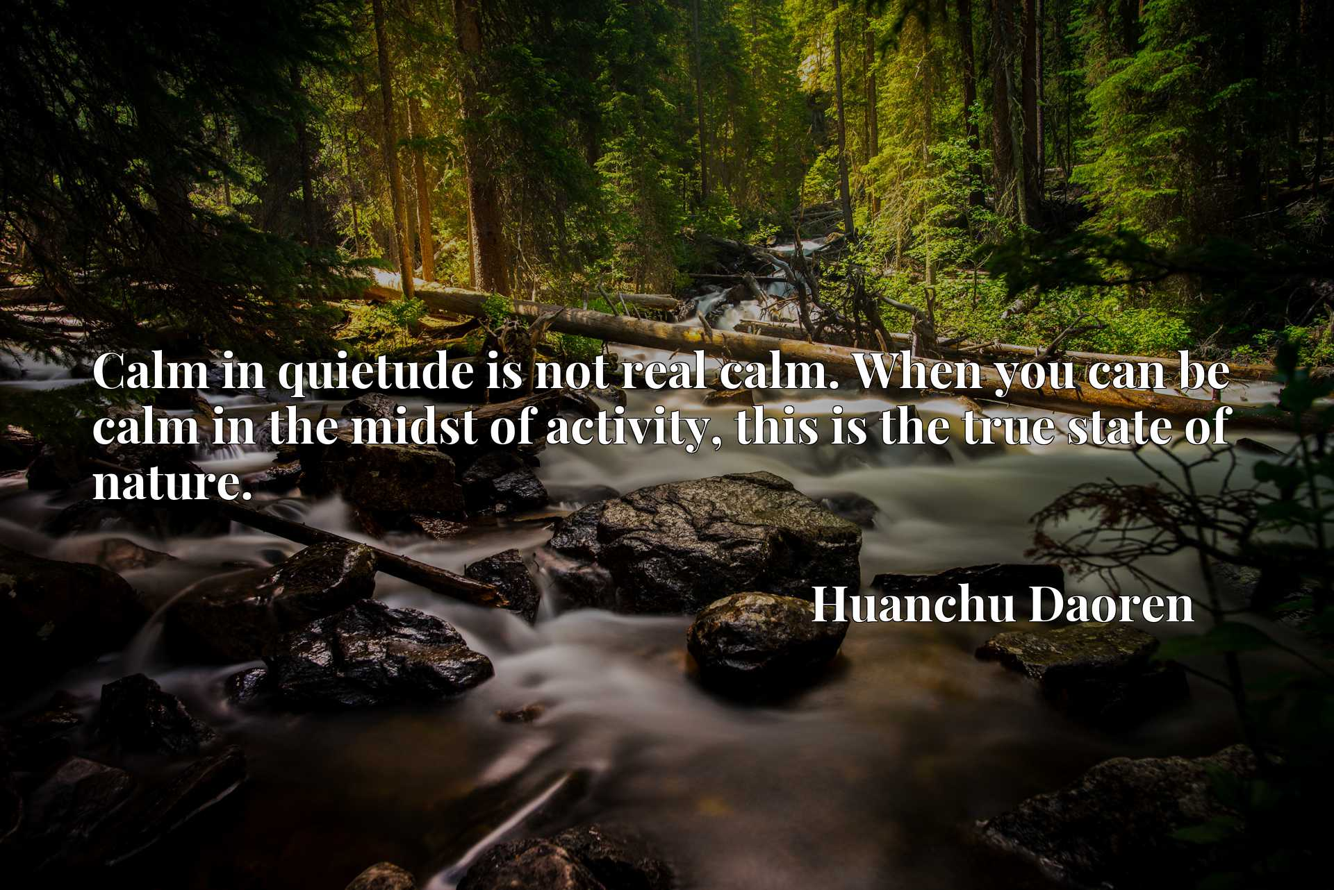 Calm in quietude is not real calm. When you can be calm in the midst of activity, this is the true state of nature.