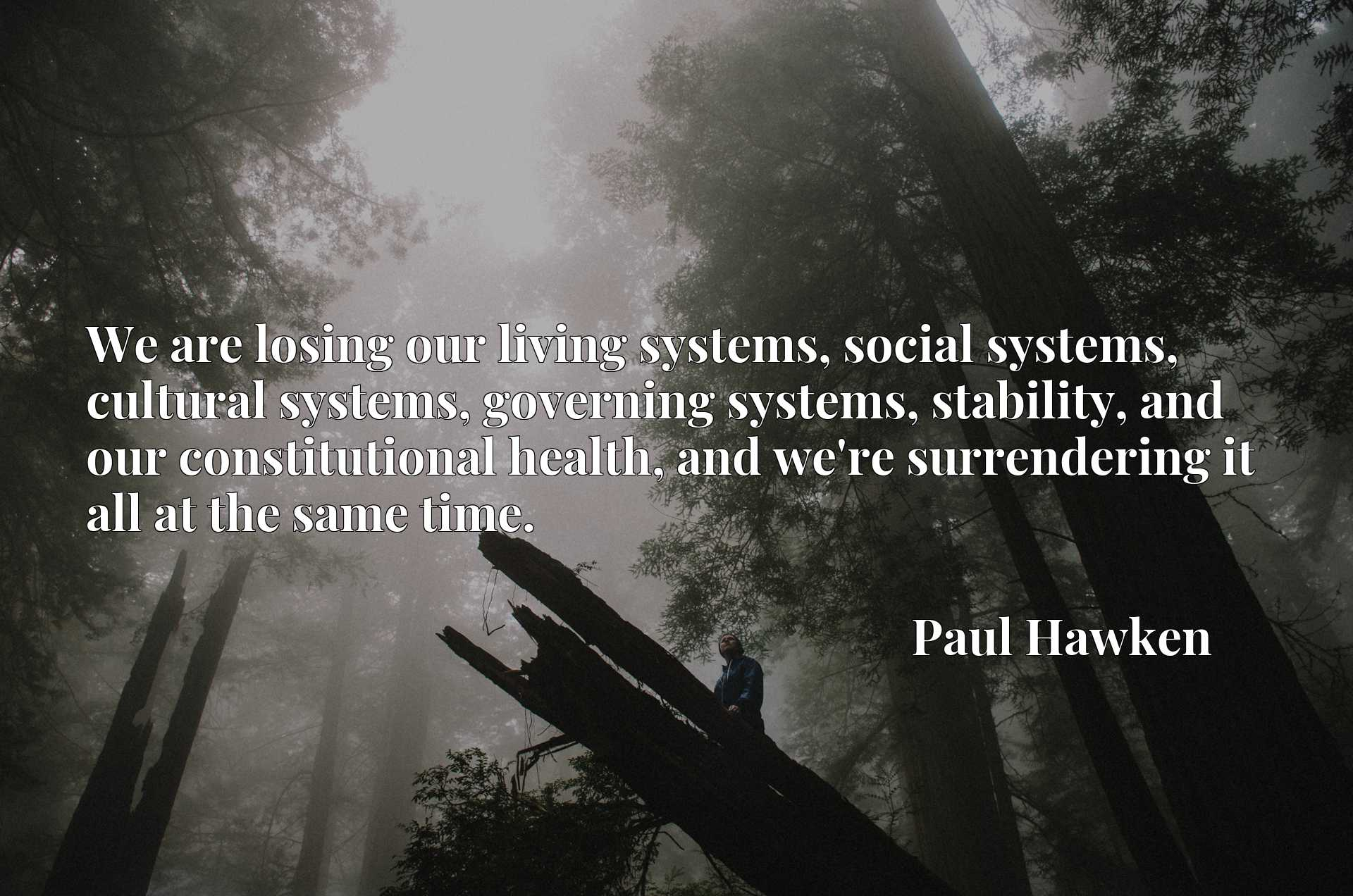 We are losing our living systems, social systems, cultural systems, governing systems, stability, and our constitutional health, and we're surrendering it all at the same time.