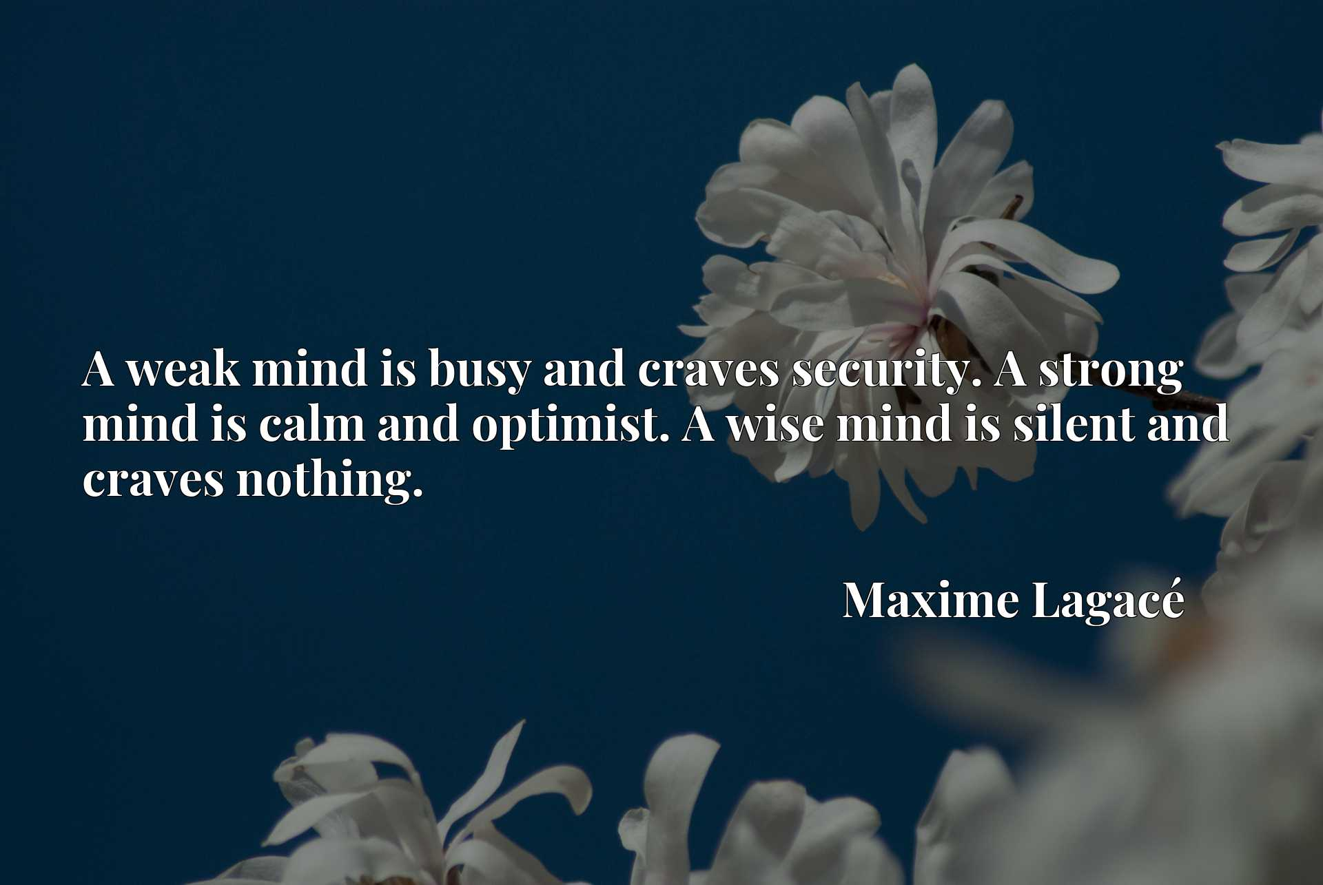 Quote Picture :A weak mind is busy and craves security. A strong mind is calm and optimist. A wise mind is silent and craves nothing.