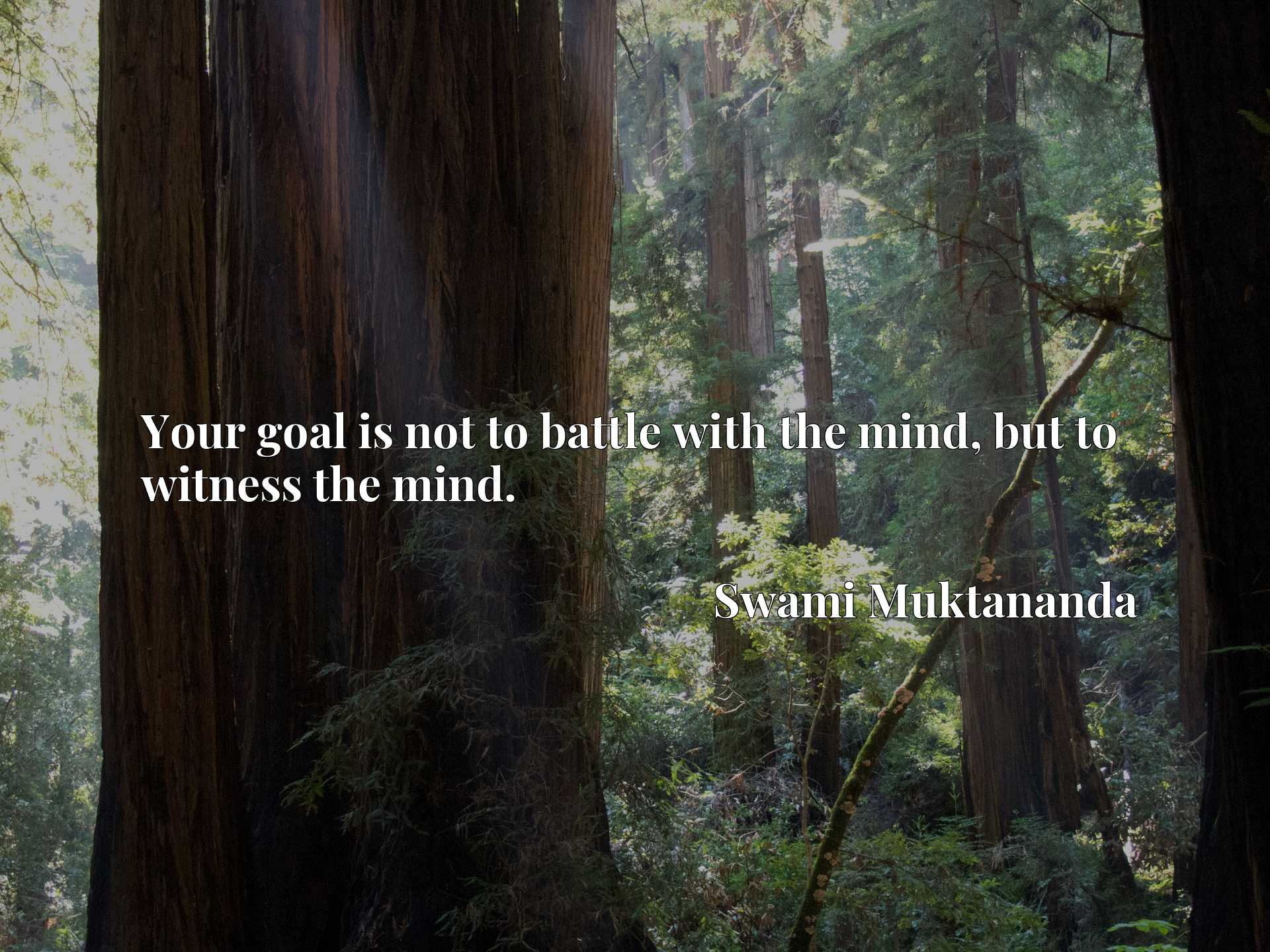 Quote Picture :Your goal is not to battle with the mind, but to witness the mind.