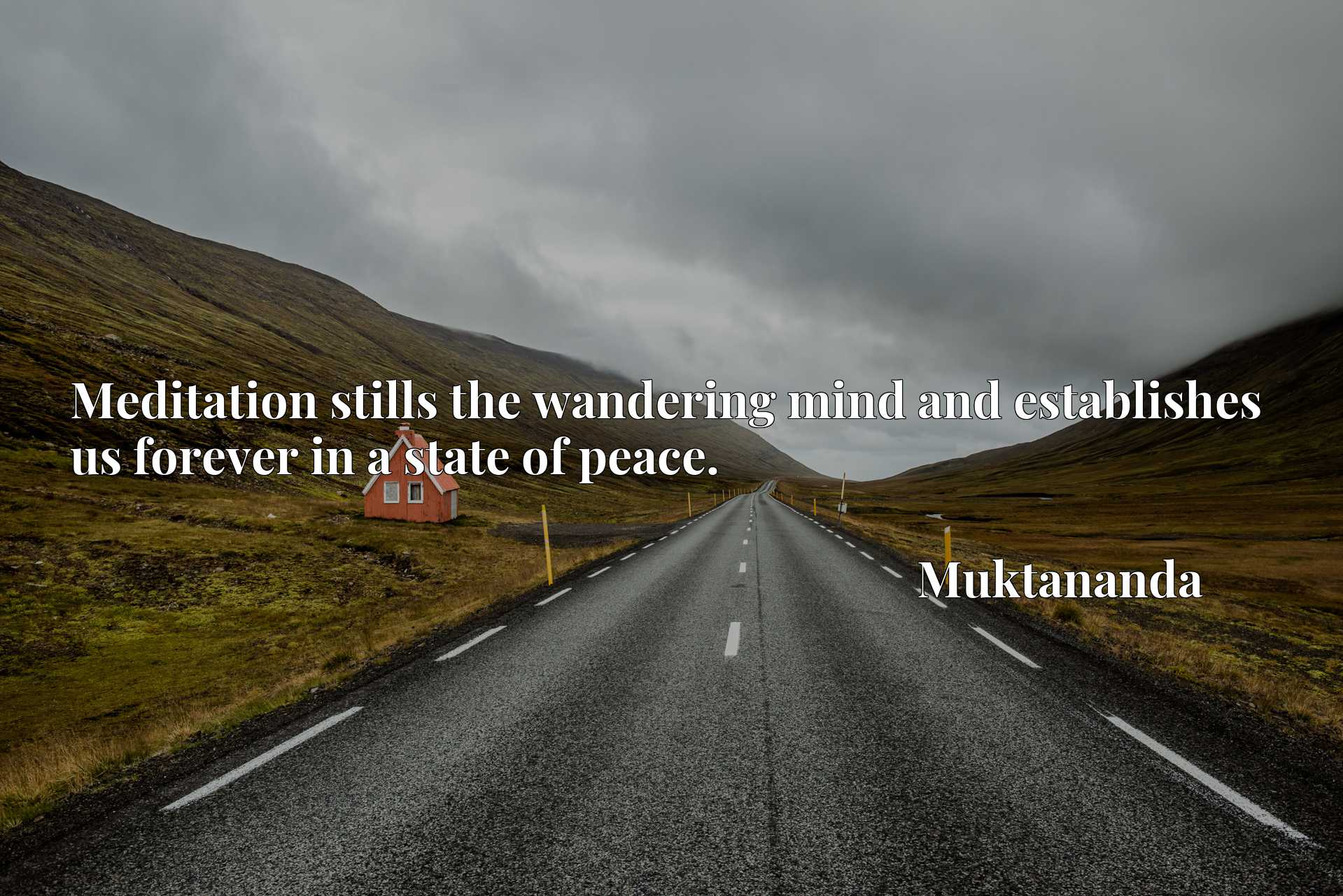 Quote Picture :Meditation stills the wandering mind and establishes us forever in a state of peace.