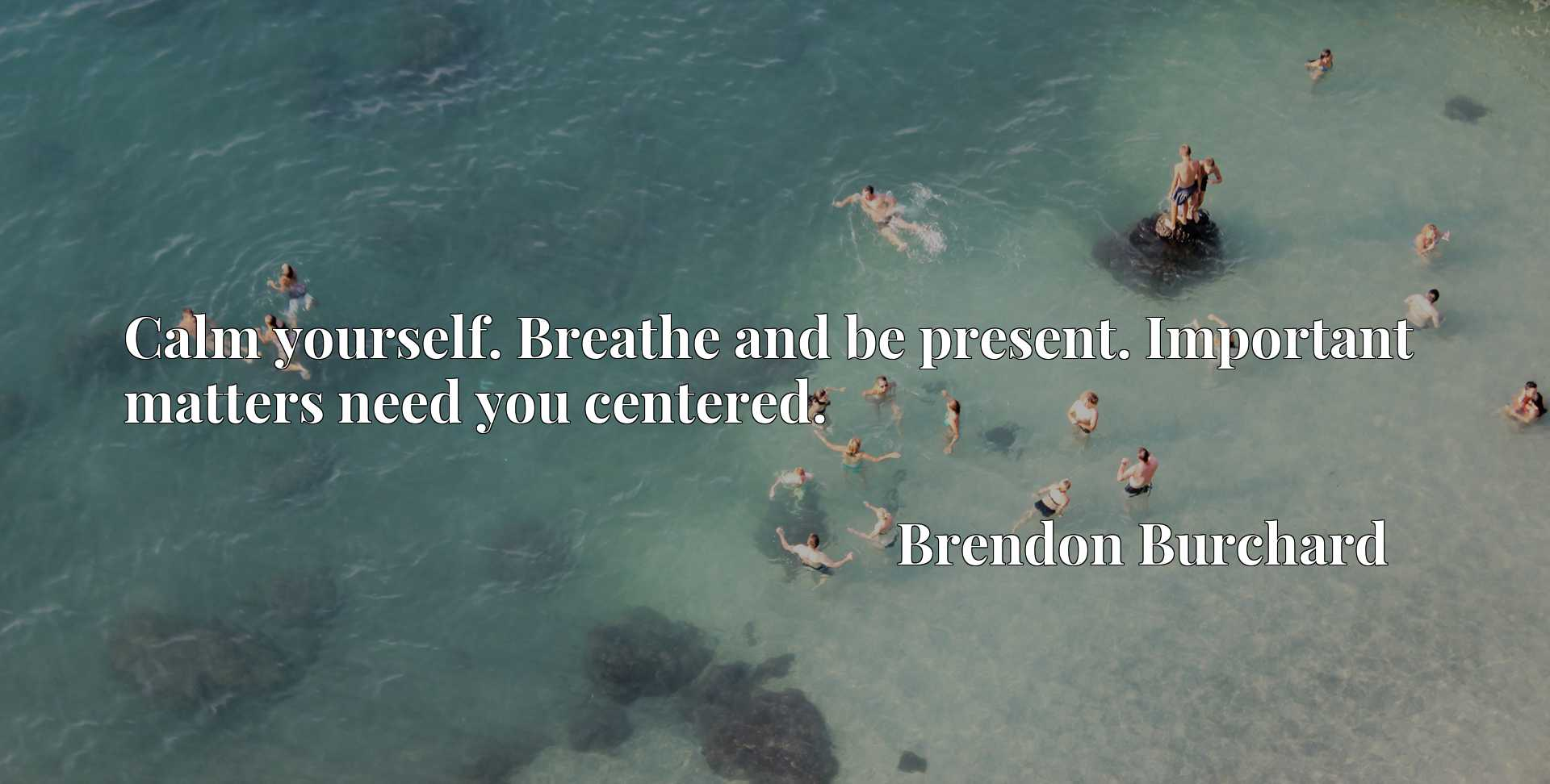 Quote Picture :Calm yourself. Breathe and be present. Important matters need you centered.