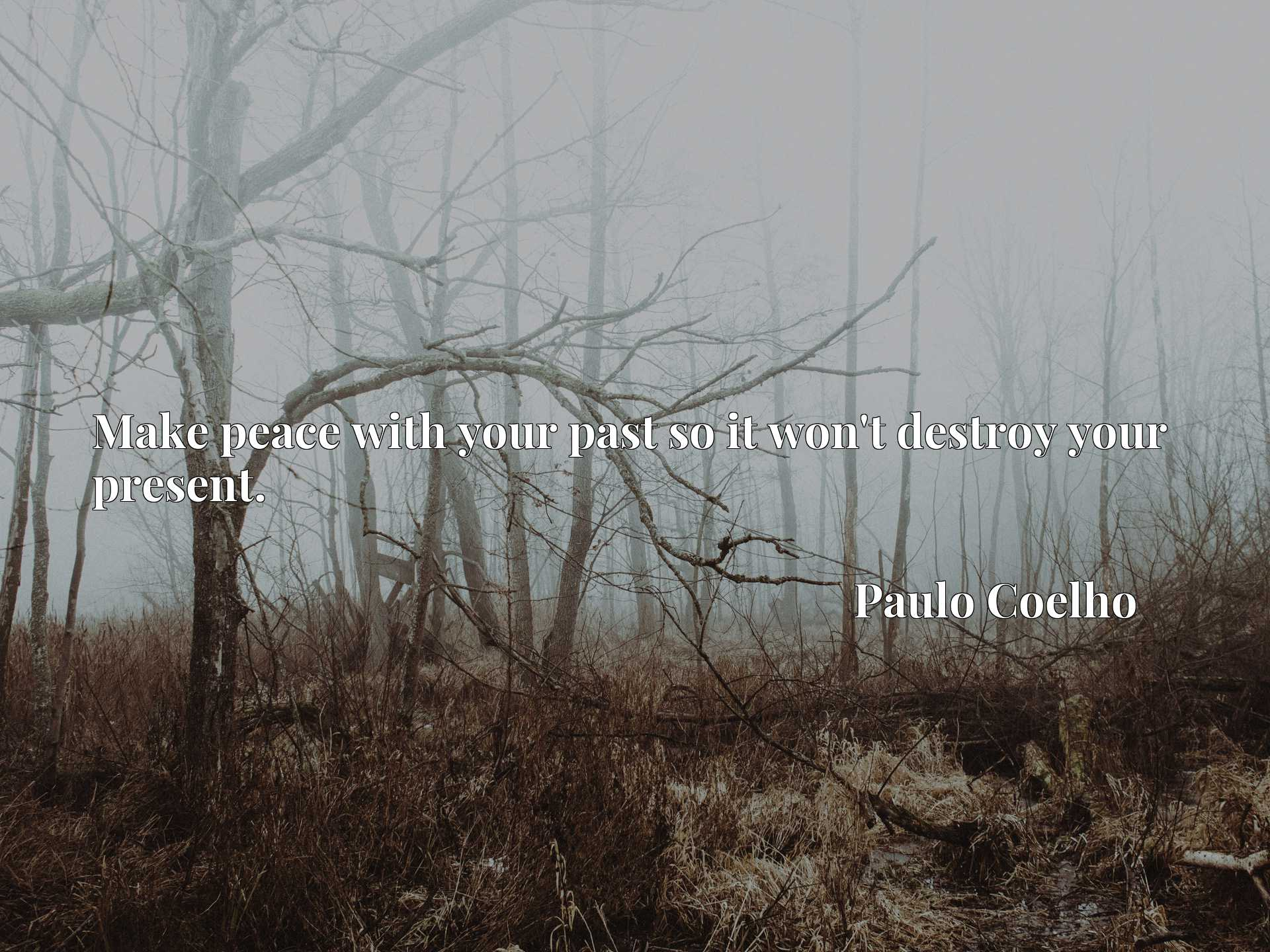 Quote Picture :Make peace with your past so it won't destroy your present.