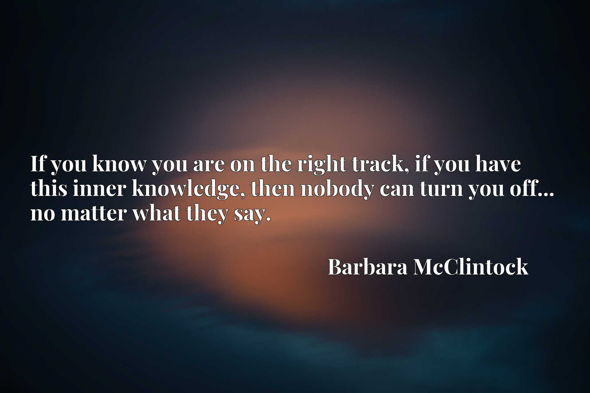 Quote Picture :If you know you are on the right track, if you have this inner knowledge, then nobody can turn you off... no matter what they say.