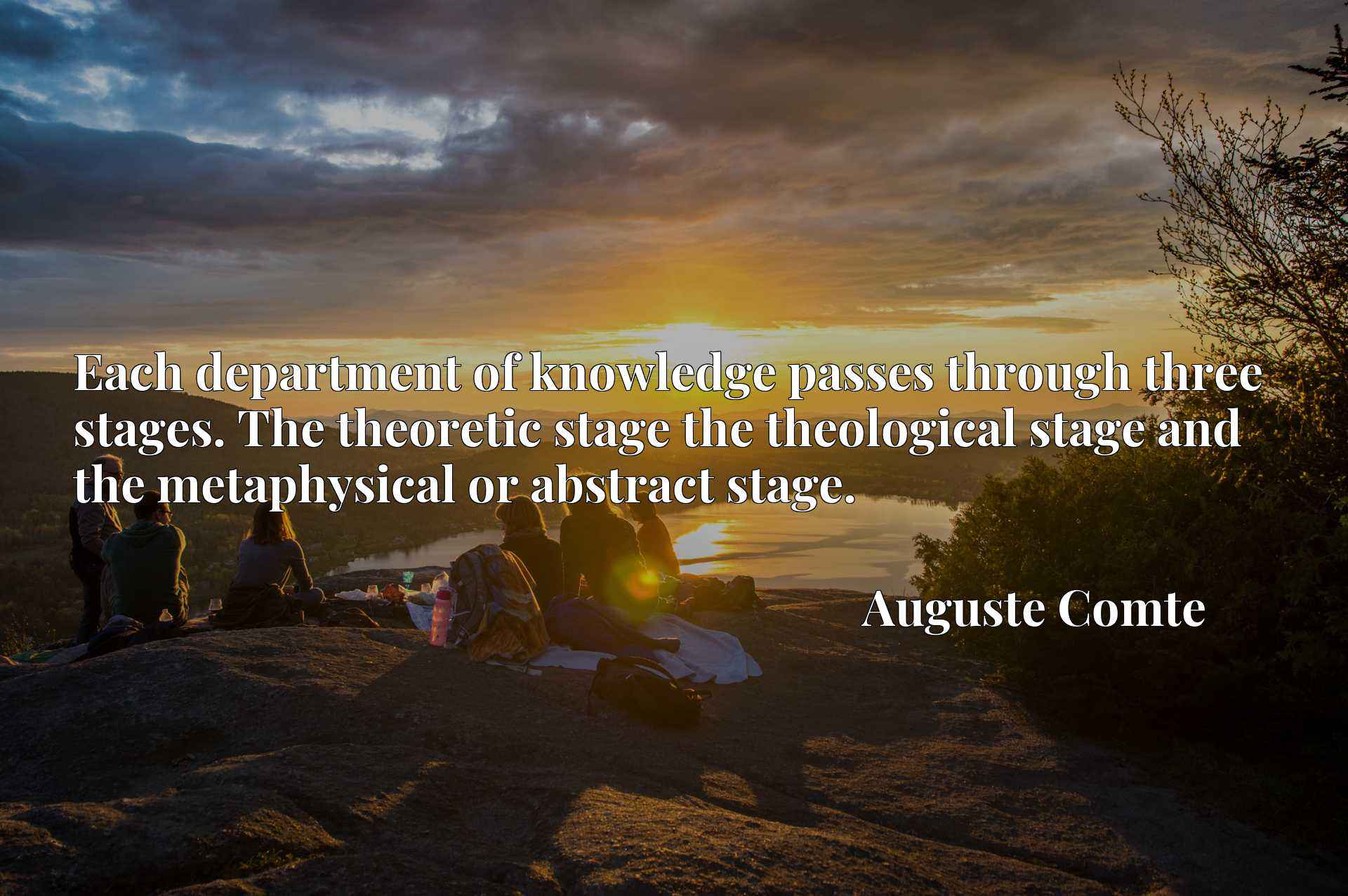 Quote Picture :Each department of knowledge passes through three stages. The theoretic stage the theological stage and the metaphysical or abstract stage.