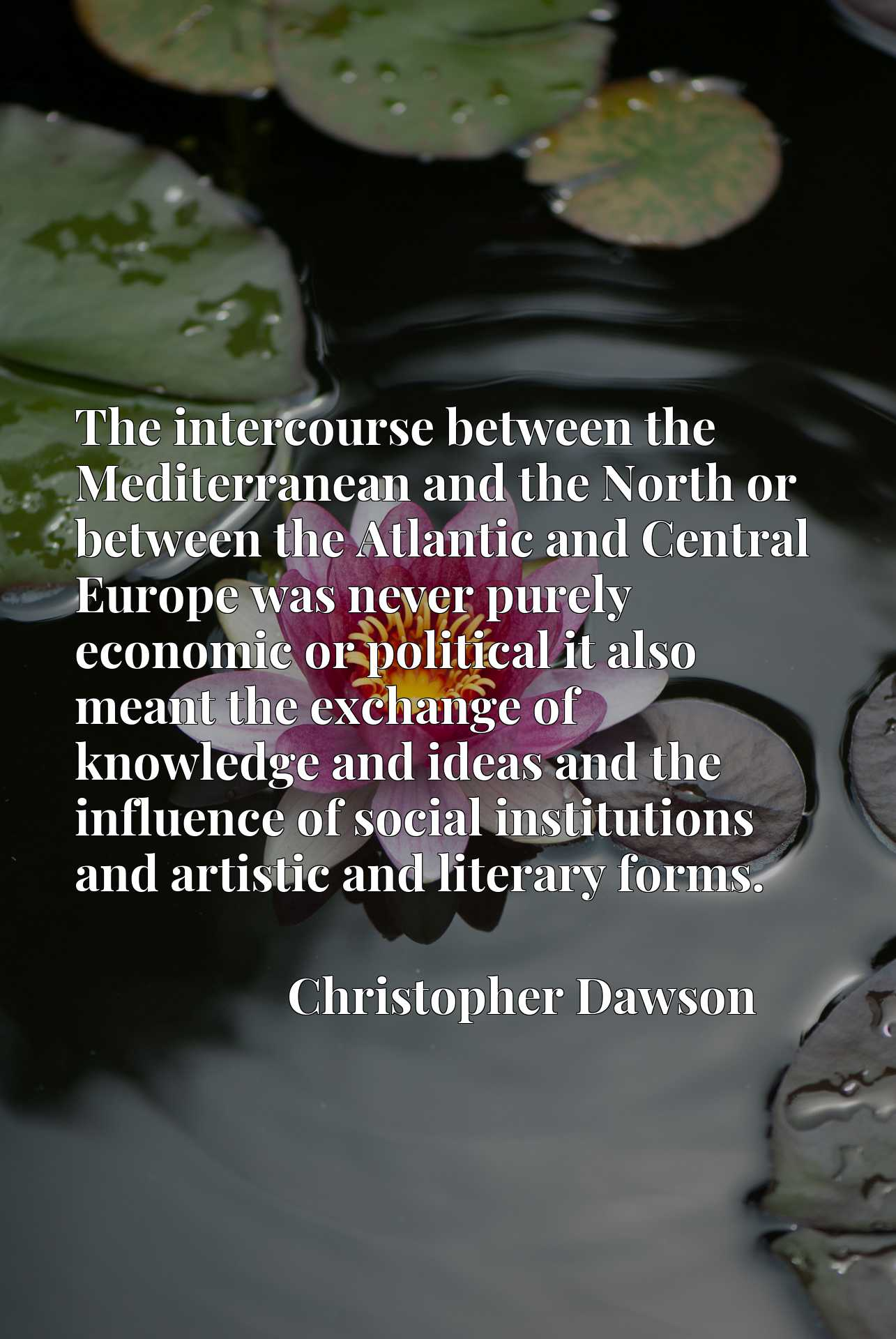 Quote Picture :The intercourse between the Mediterranean and the North or between the Atlantic and Central Europe was never purely economic or political it also meant the exchange of knowledge and ideas and the influence of social institutions and artistic and literary forms.