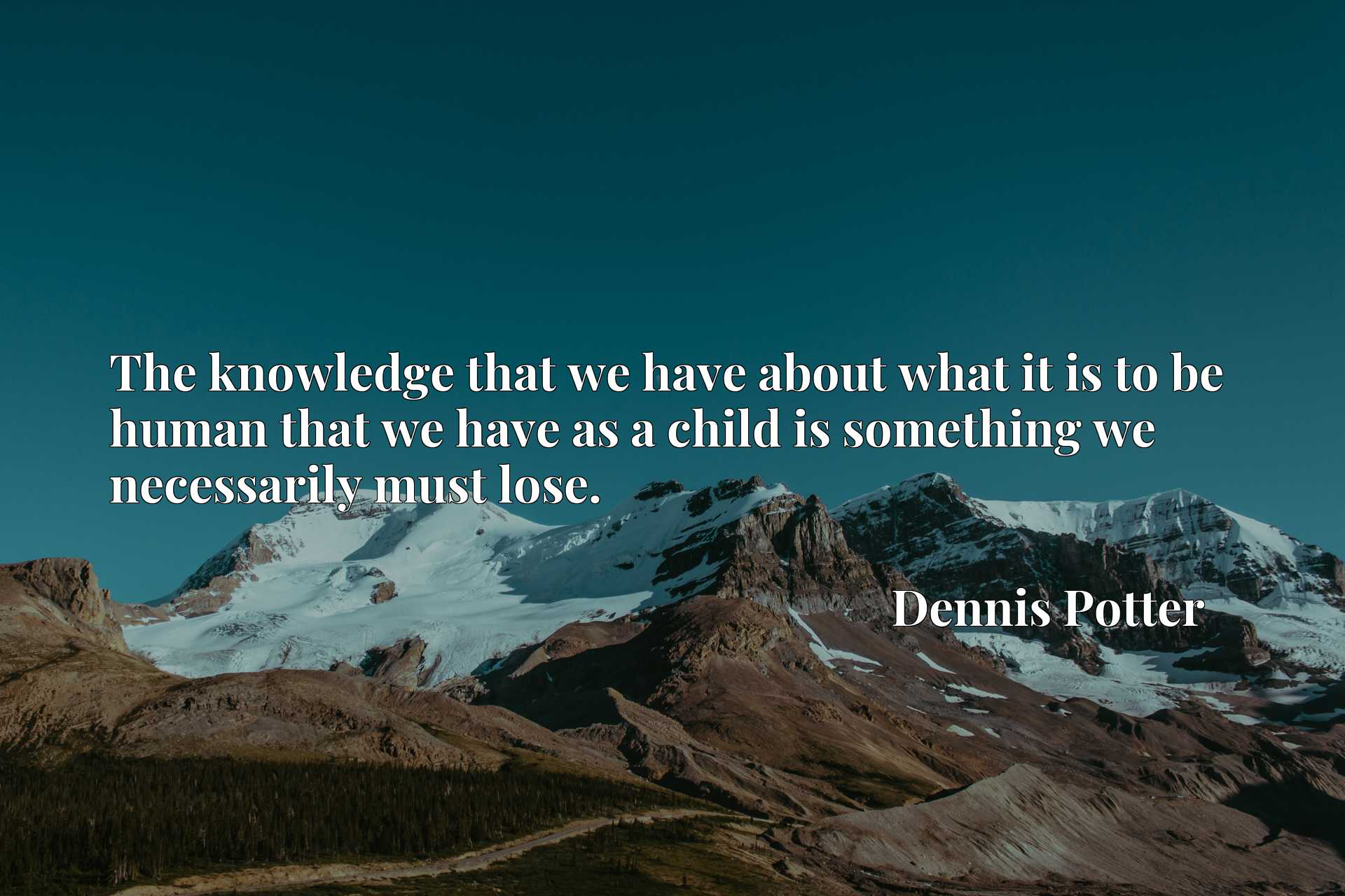 Quote Picture :The knowledge that we have about what it is to be human that we have as a child is something we necessarily must lose.