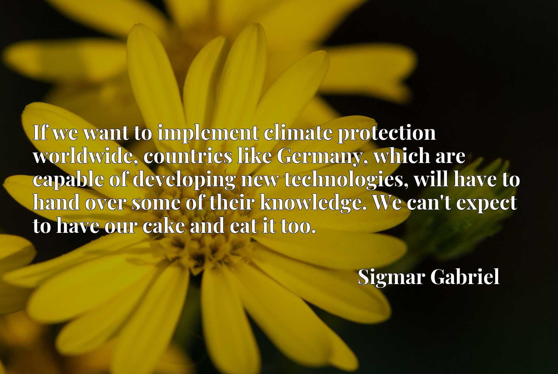 Quote Picture :If we want to implement climate protection worldwide, countries like Germany, which are capable of developing new technologies, will have to hand over some of their knowledge. We can't expect to have our cake and eat it too.