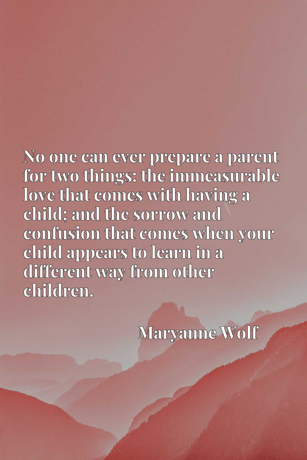 Quote Picture :No one can ever prepare a parent for two things: the immeasurable love that comes with having a child; and the sorrow and confusion that comes when your child appears to learn in a different way from other children.