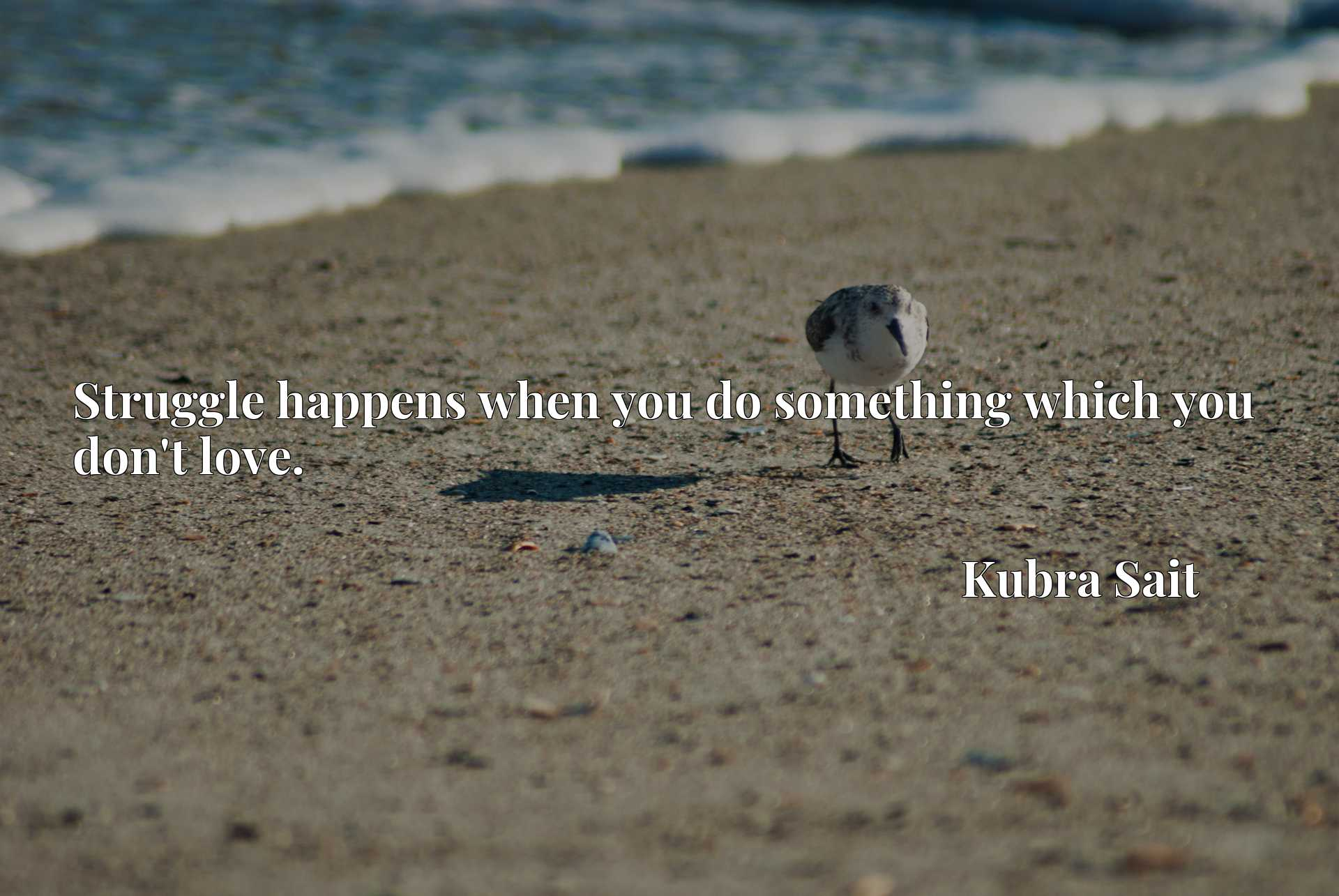 Quote Picture :Struggle happens when you do something which you don't love.