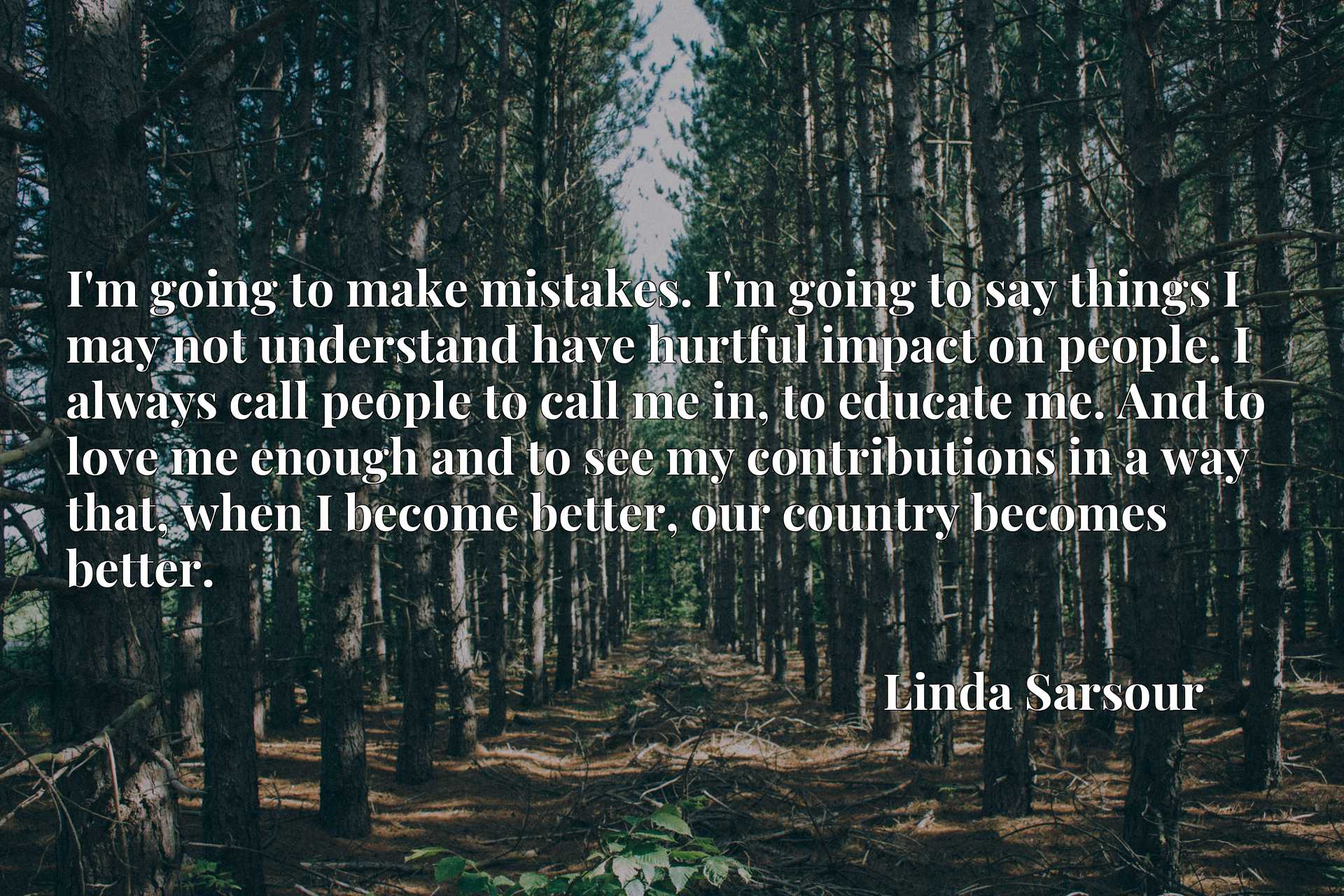 Quote Picture :I'm going to make mistakes. I'm going to say things I may not understand have hurtful impact on people. I always call people to call me in, to educate me. And to love me enough and to see my contributions in a way that, when I become better, our country becomes better.