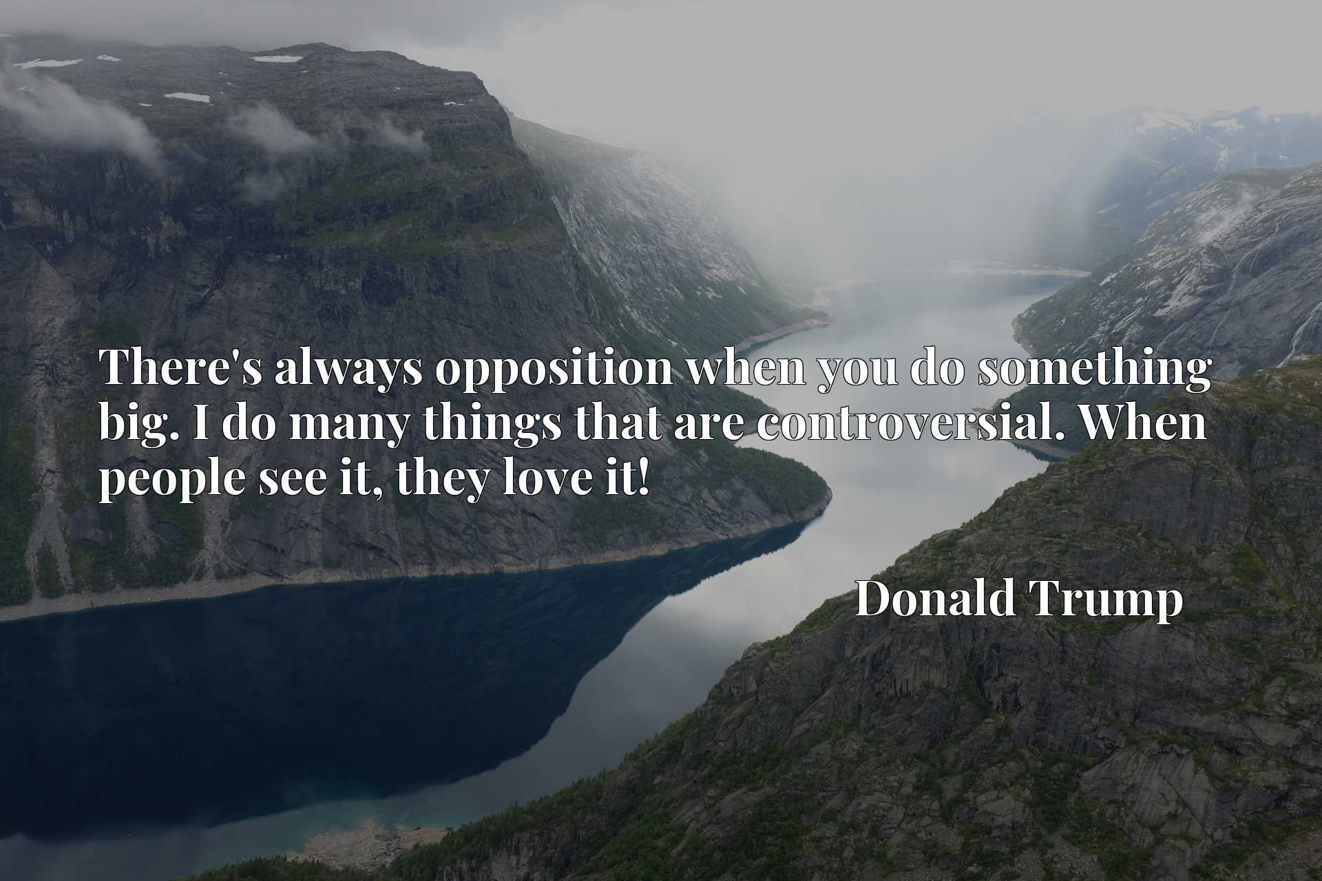 Quote Picture :There's always opposition when you do something big. I do many things that are controversial. When people see it, they love it!