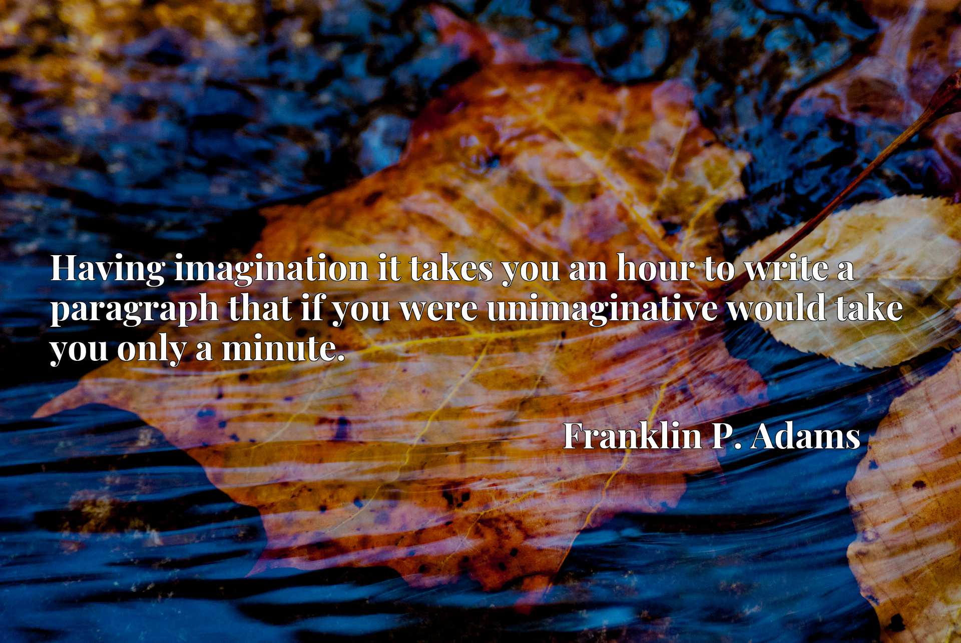 Quote Picture :Having imagination it takes you an hour to write a paragraph that if you were unimaginative would take you only a minute.