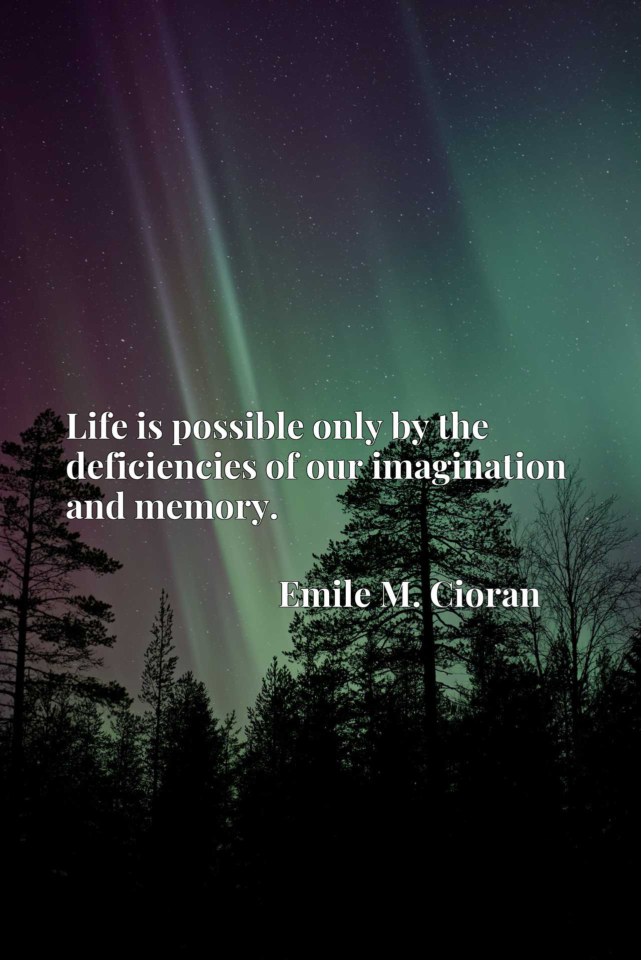 Quote Picture :Life is possible only by the deficiencies of our imagination and memory.
