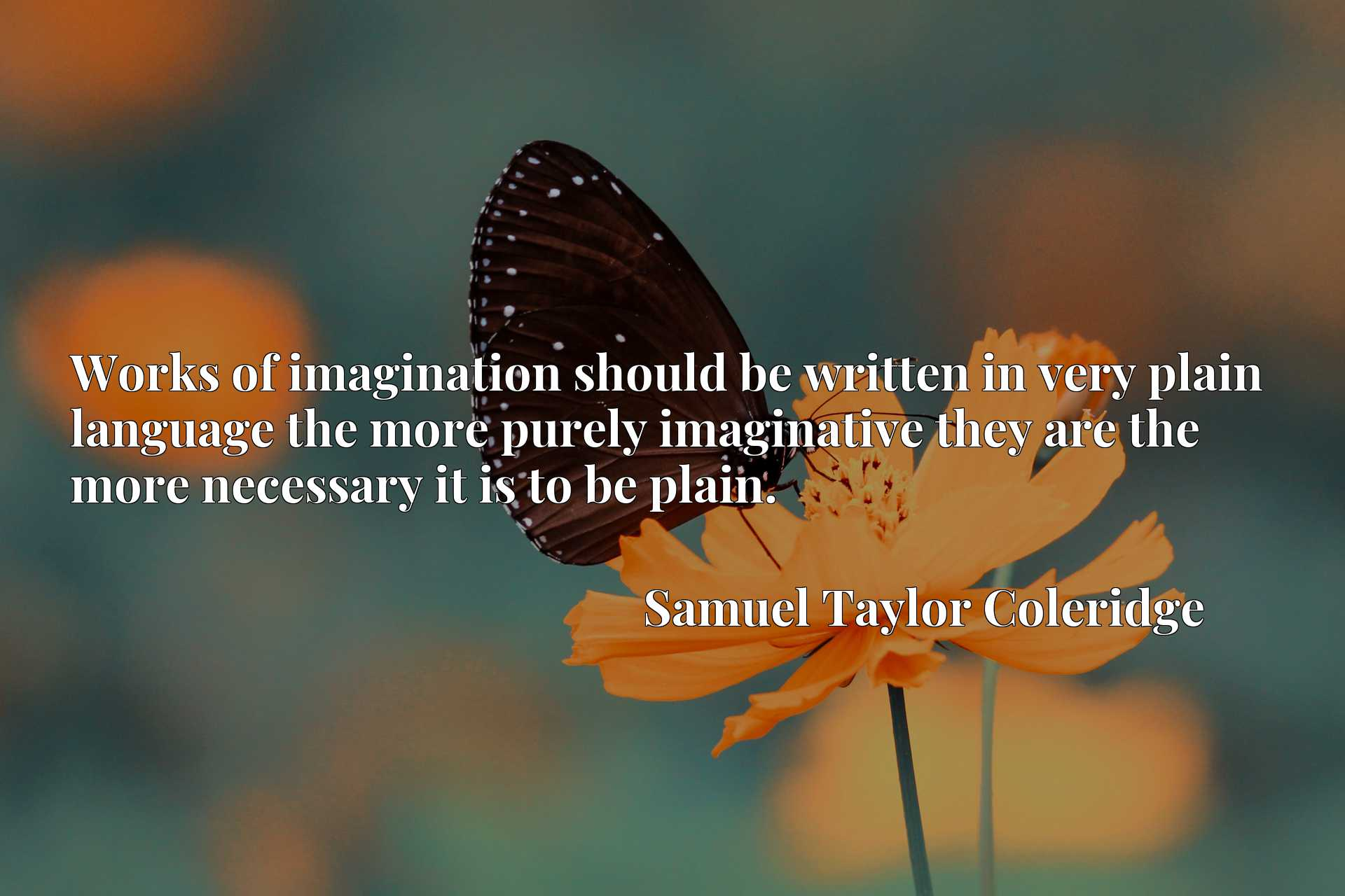 Quote Picture :Works of imagination should be written in very plain language the more purely imaginative they are the more necessary it is to be plain.