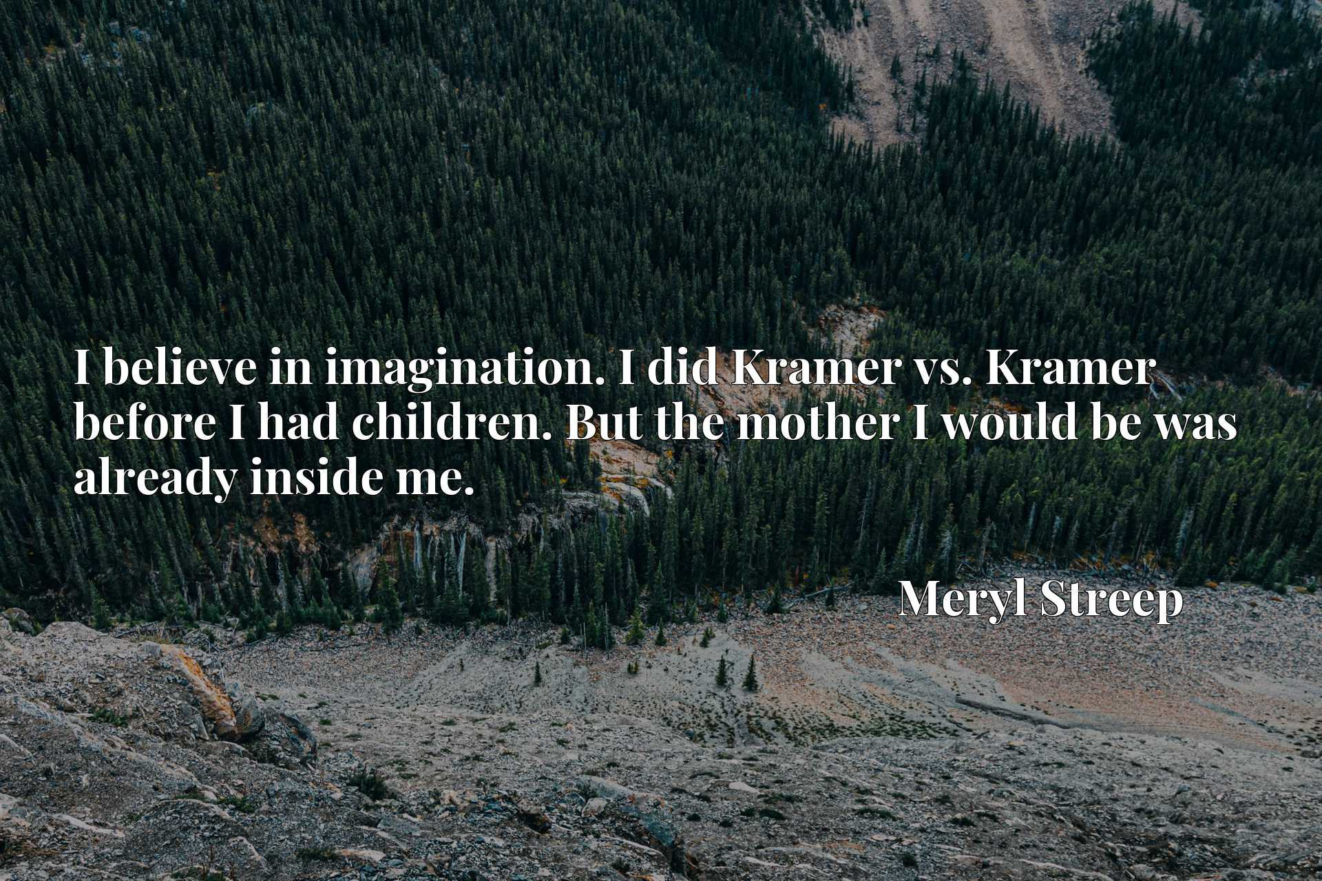 Quote Picture :I believe in imagination. I did Kramer vs. Kramer before I had children. But the mother I would be was already inside me.