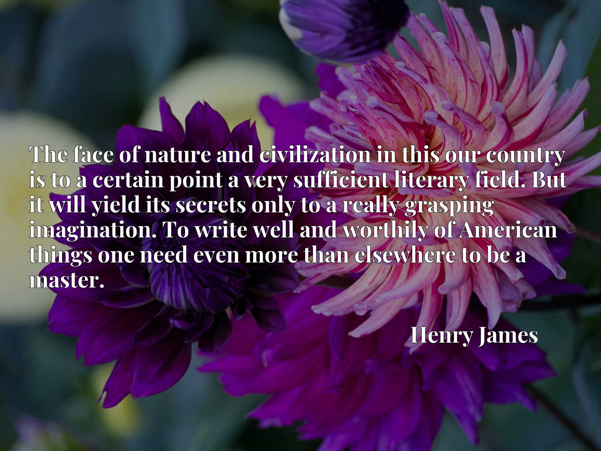Quote Picture :The face of nature and civilization in this our country is to a certain point a very sufficient literary field. But it will yield its secrets only to a really grasping imagination. To write well and worthily of American things one need even more than elsewhere to be a master.