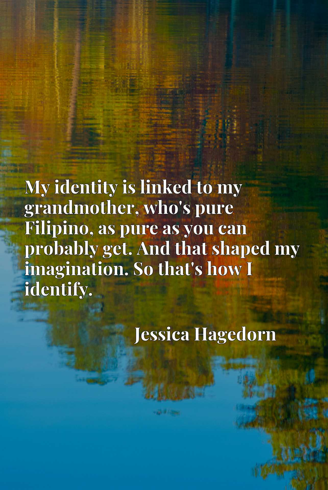 Quote Picture :My identity is linked to my grandmother, who's pure Filipino, as pure as you can probably get. And that shaped my imagination. So that's how I identify.