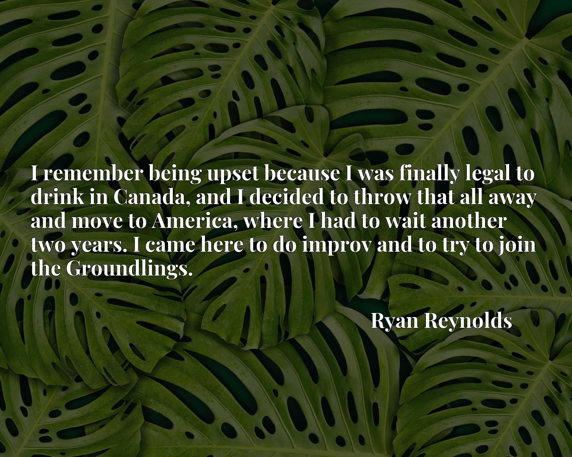 Quote Picture :I remember being upset because I was finally legal to drink in Canada, and I decided to throw that all away and move to America, where I had to wait another two years. I came here to do improv and to try to join the Groundlings.