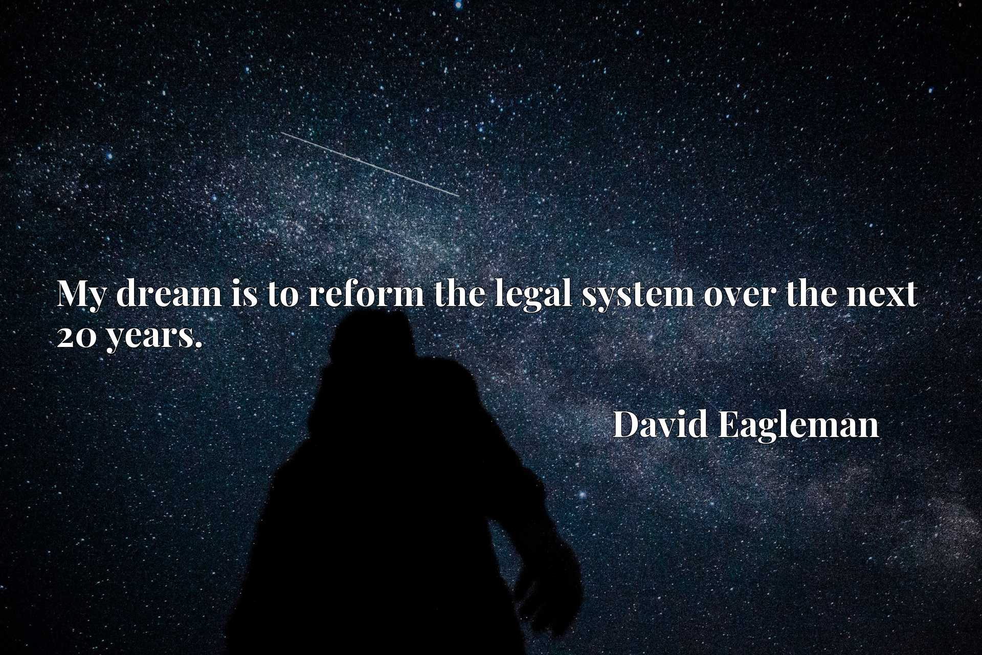 Quote Picture :My dream is to reform the legal system over the next 20 years.
