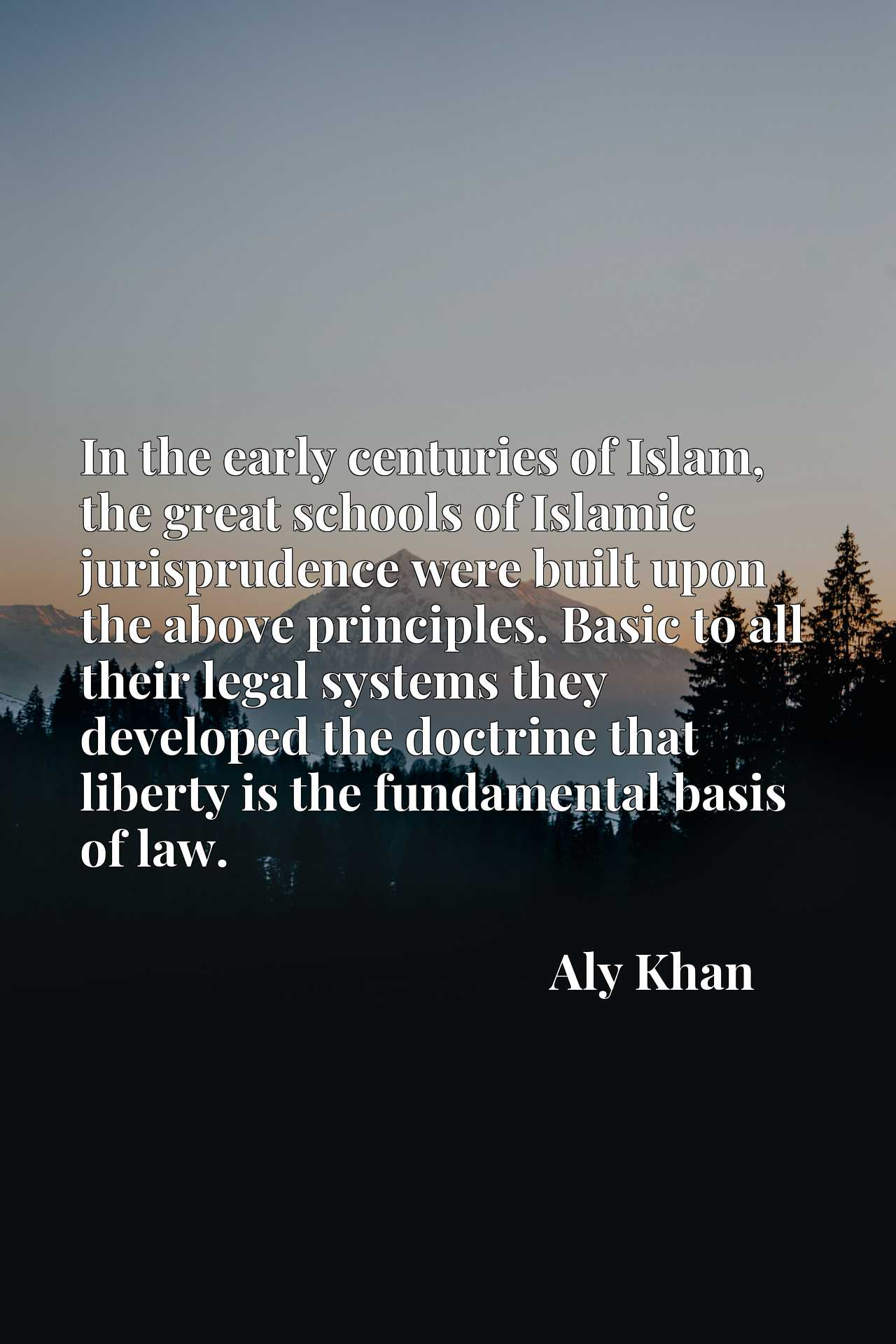 Quote Picture :In the early centuries of Islam, the great schools of Islamic jurisprudence were built upon the above principles. Basic to all their legal systems they developed the doctrine that liberty is the fundamental basis of law.