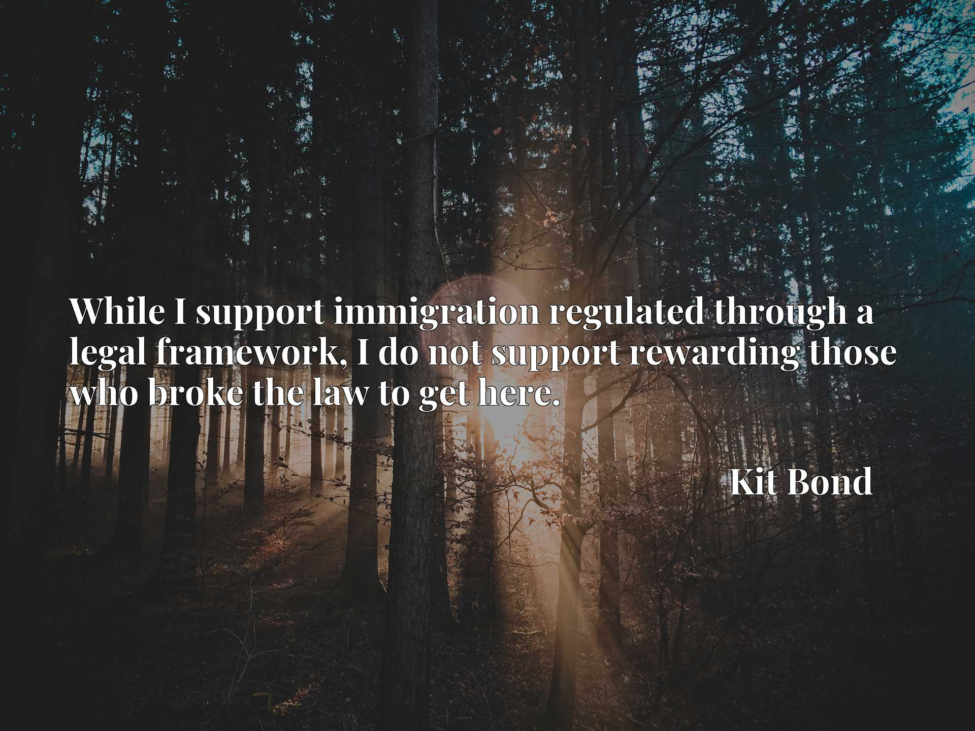 Quote Picture :While I support immigration regulated through a legal framework, I do not support rewarding those who broke the law to get here.