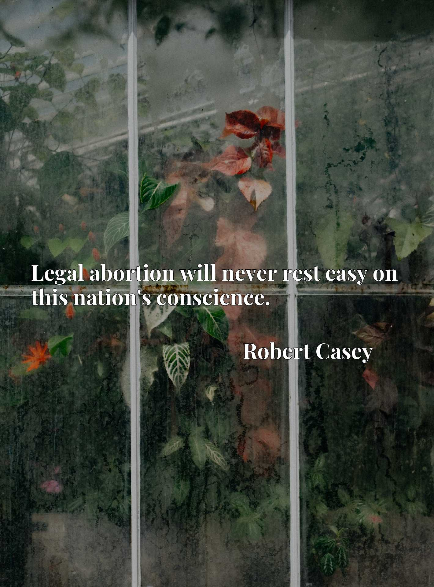 Quote Picture :Legal abortion will never rest easy on this nation's conscience.