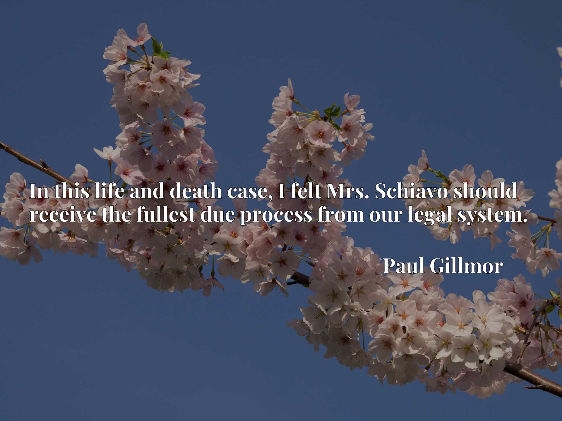 Quote Picture :In this life and death case, I felt Mrs. Schiavo should receive the fullest due process from our legal system.