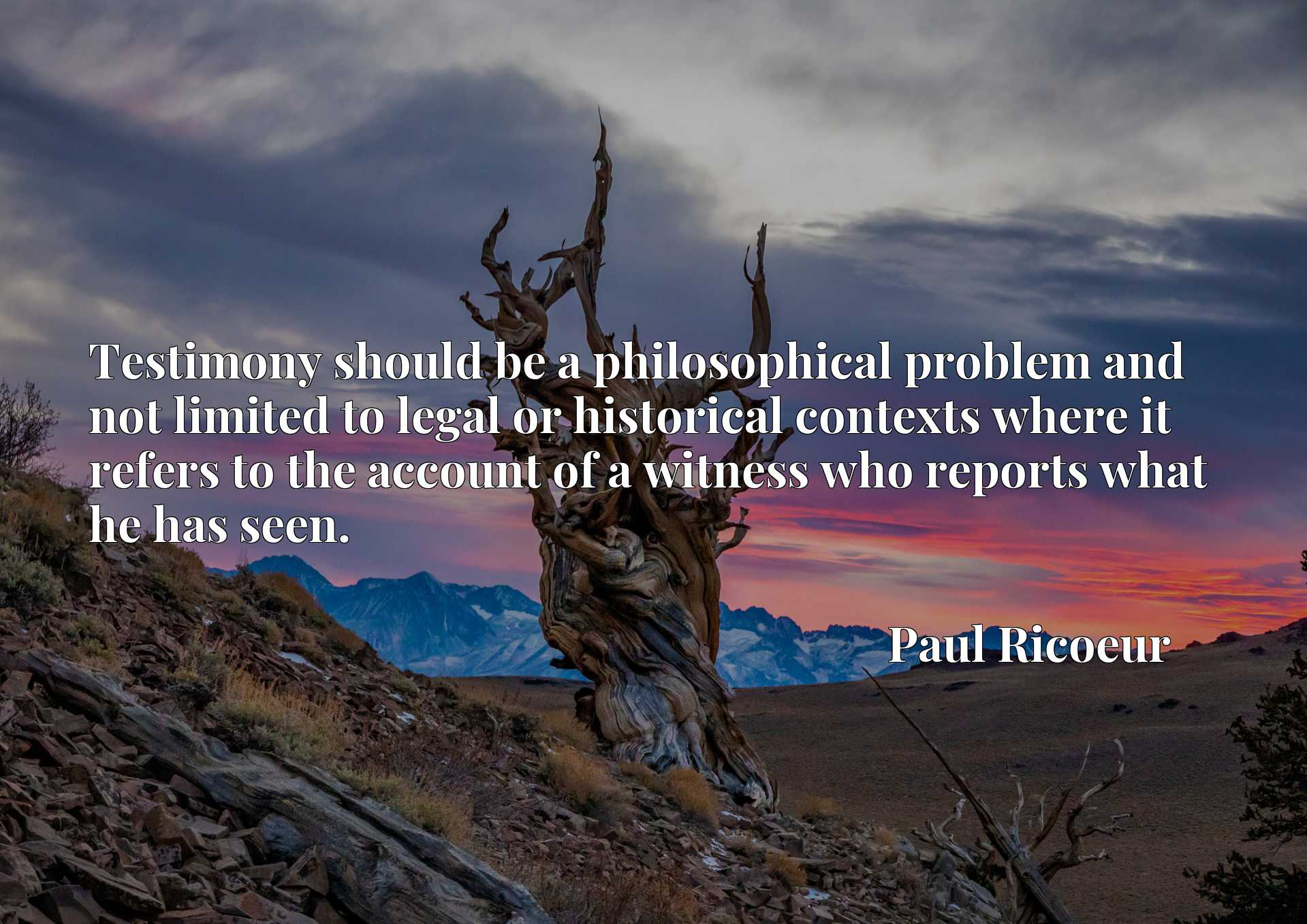 Quote Picture :Testimony should be a philosophical problem and not limited to legal or historical contexts where it refers to the account of a witness who reports what he has seen.