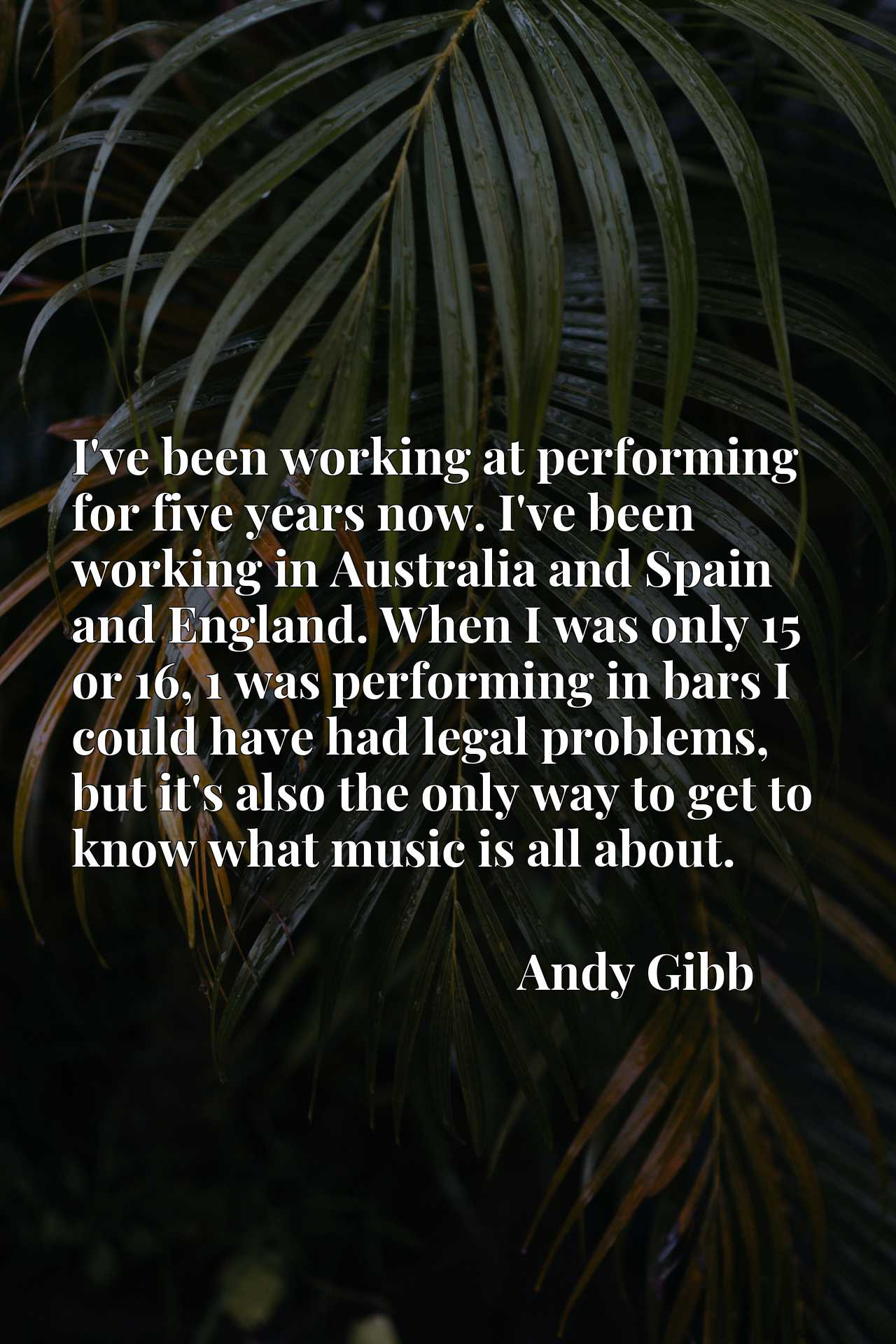 I've been working at performing for five years now. I've been working in Australia and Spain and England. When I was only 15 or 16, 1 was performing in bars I could have had legal problems, but it's also the only way to get to know what music is all about.