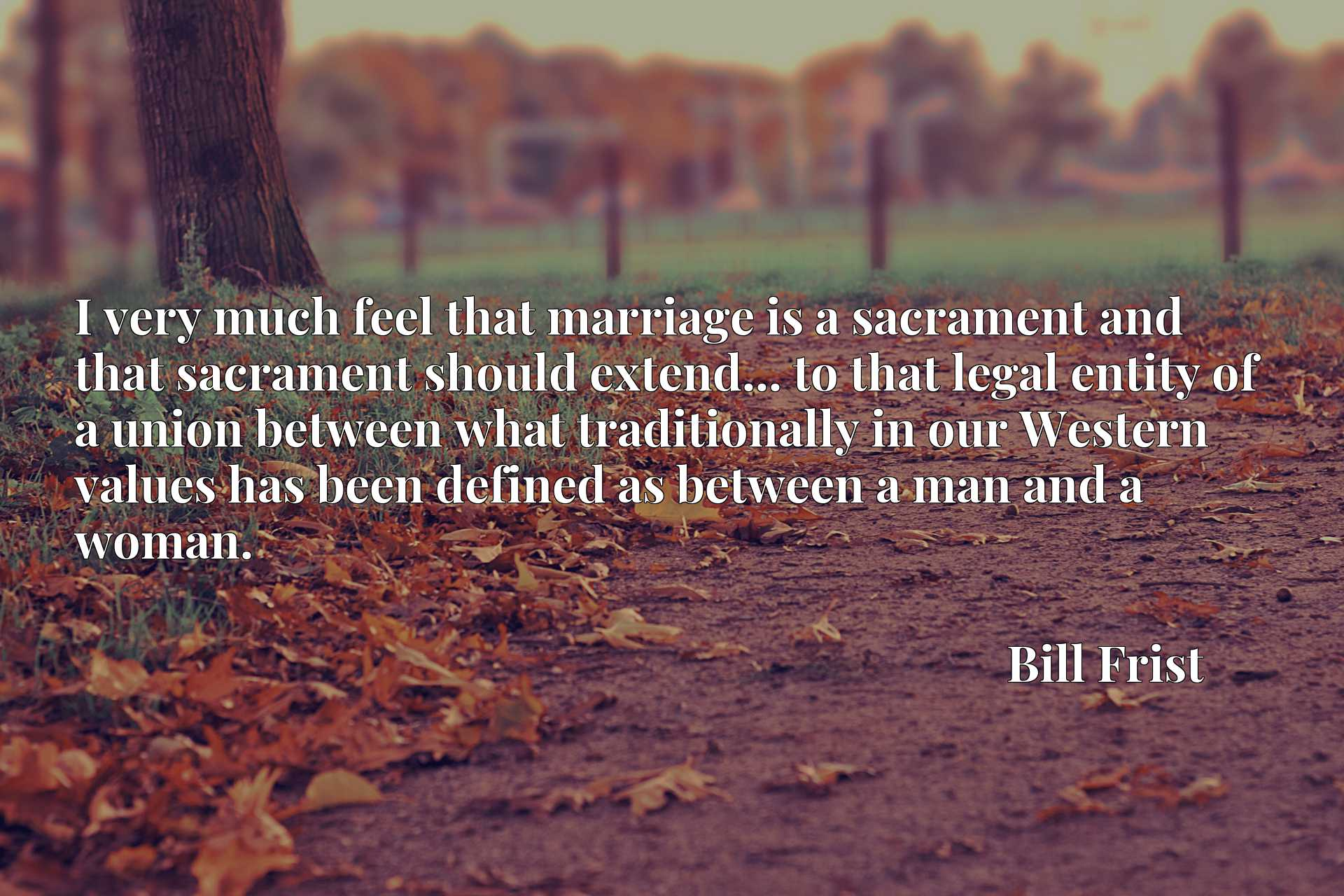 Quote Picture :I very much feel that marriage is a sacrament and that sacrament should extend... to that legal entity of a union between what traditionally in our Western values has been defined as between a man and a woman.