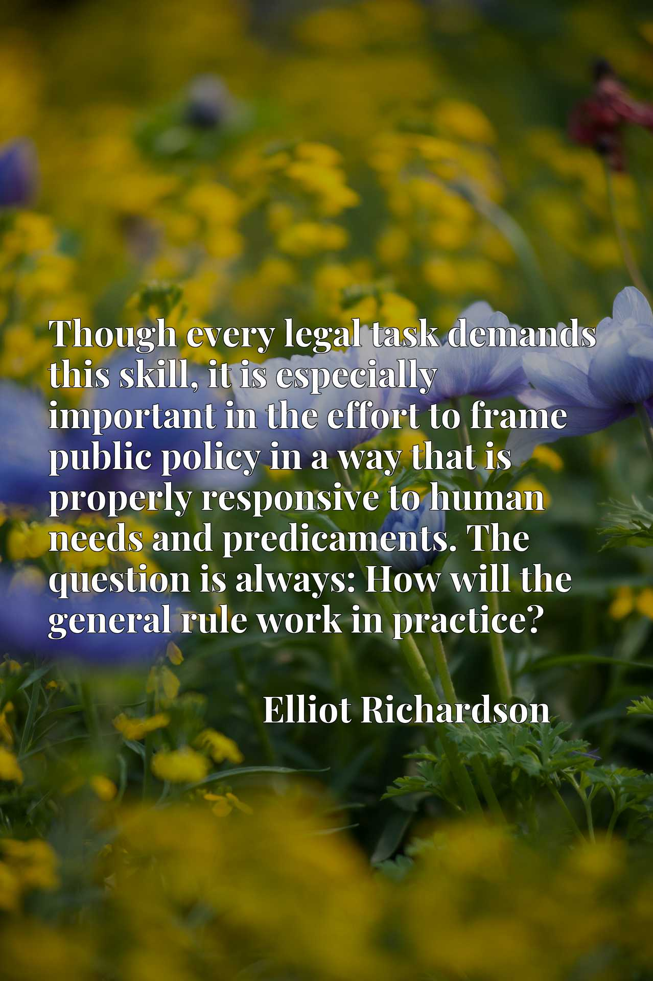 Quote Picture :Though every legal task demands this skill, it is especially important in the effort to frame public policy in a way that is properly responsive to human needs and predicaments. The question is always: How will the general rule work in practice?