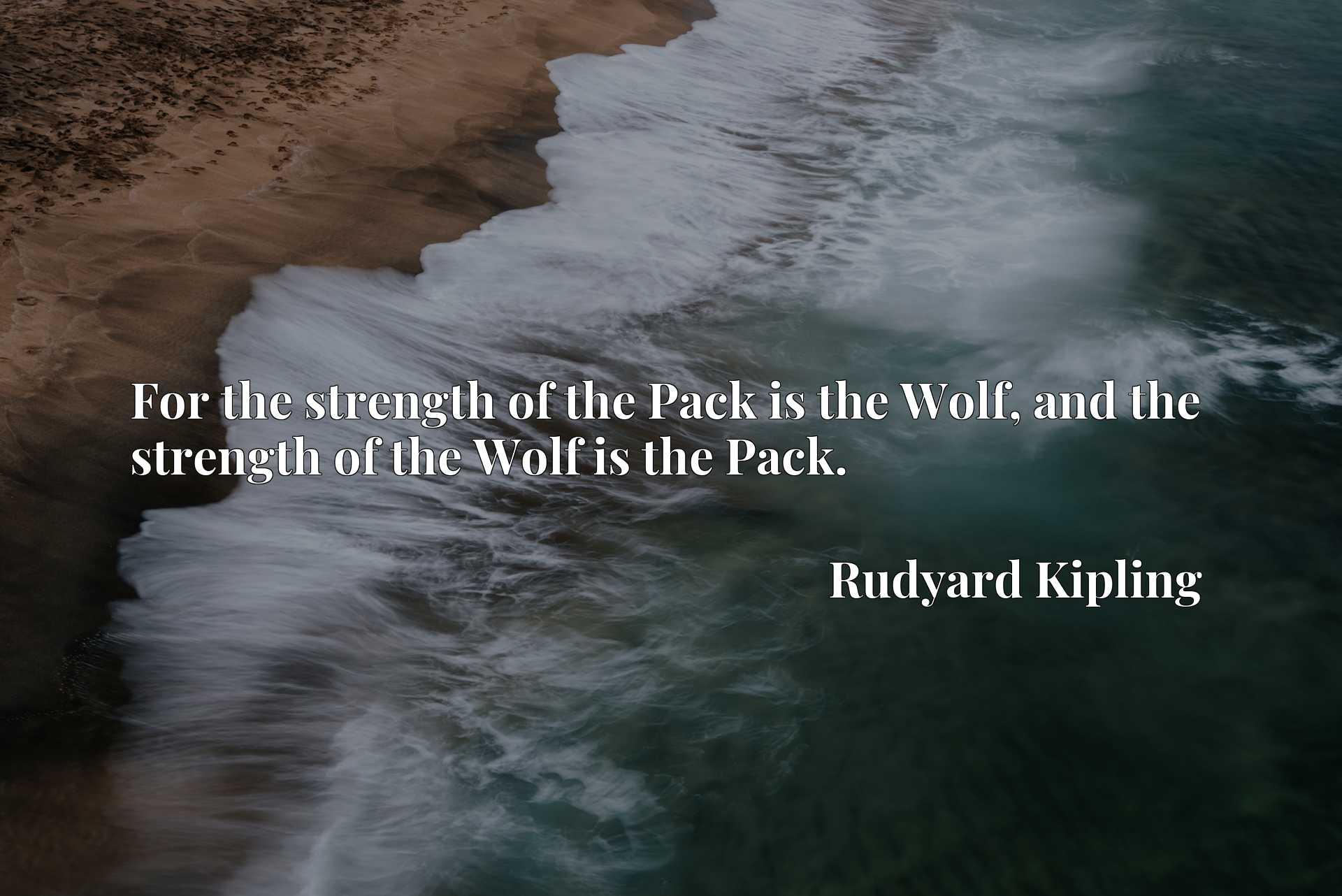 Quote Picture :For the strength of the Pack is the Wolf, and the strength of the Wolf is the Pack.