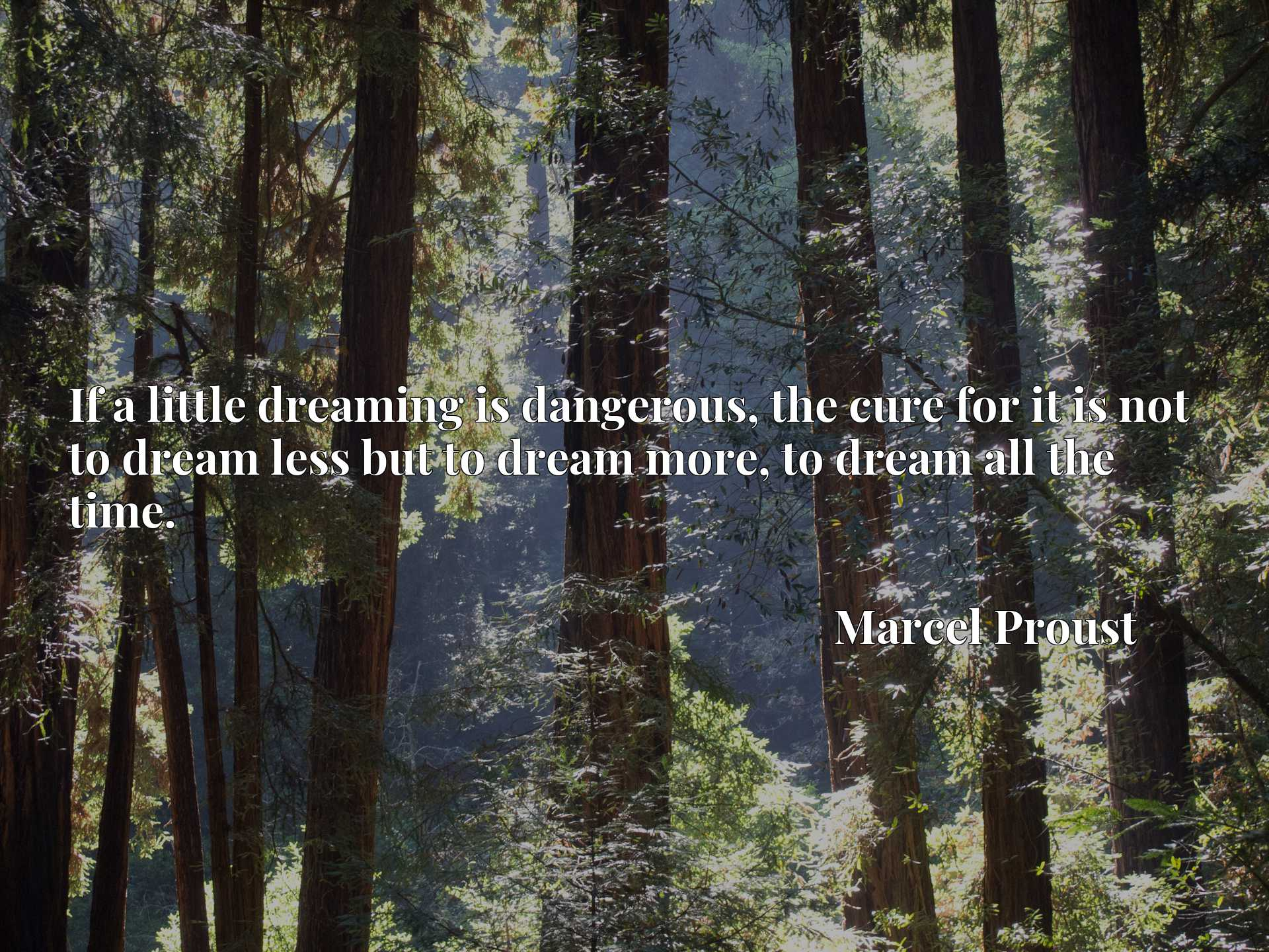 Quote Picture :If a little dreaming is dangerous, the cure for it is not to dream less but to dream more, to dream all the time.