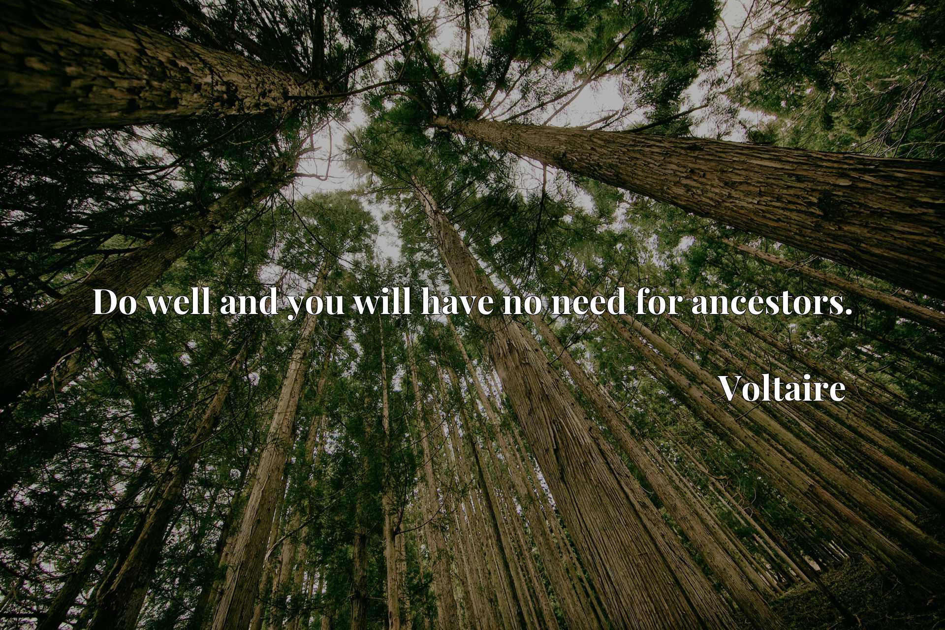 Quote Picture :Do well and you will have no need for ancestors.