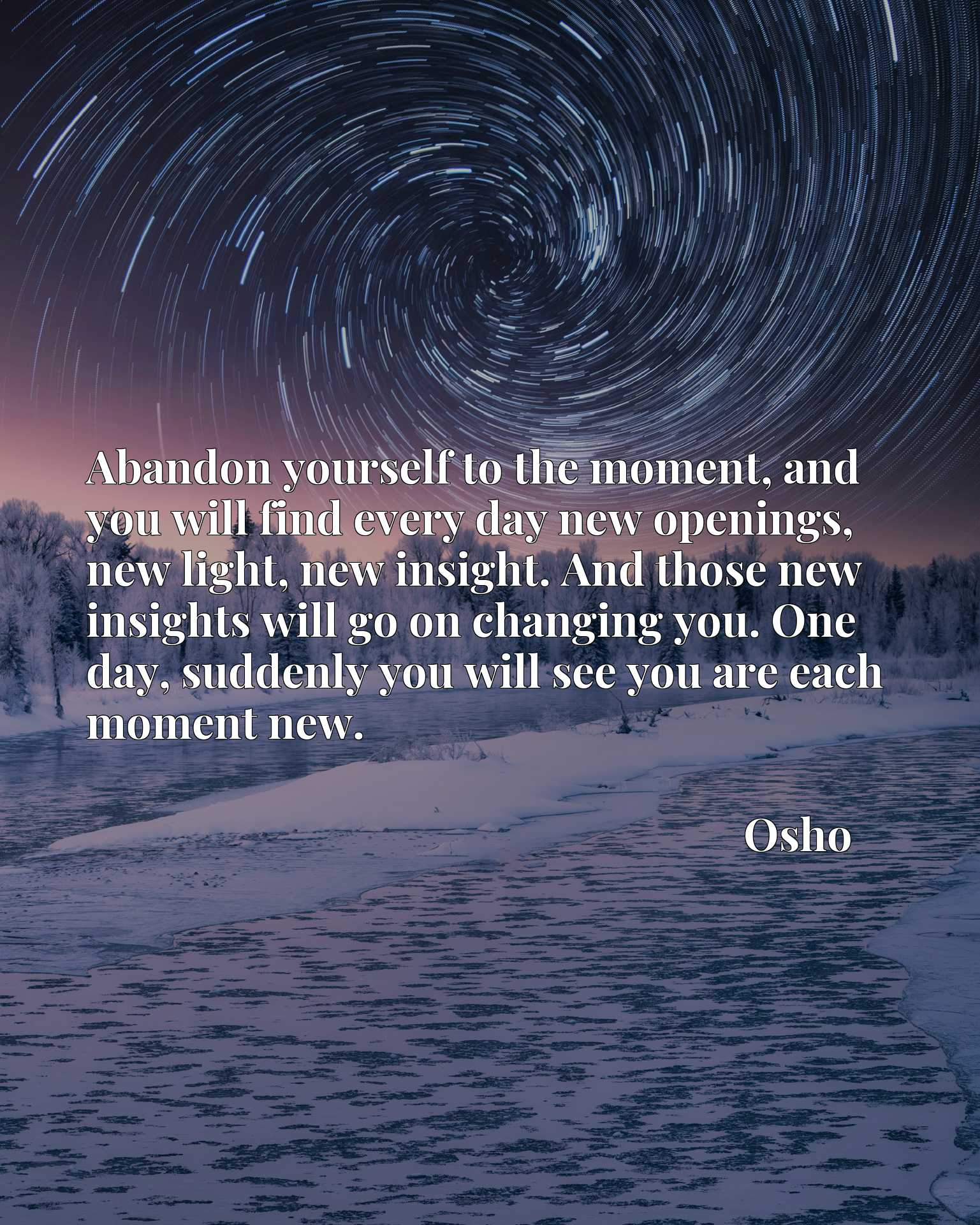 Abandon yourself to the moment, and you will find every day new openings, new light, new insight. And those new insights will go on changing you. One day, suddenly you will see you are each moment new.