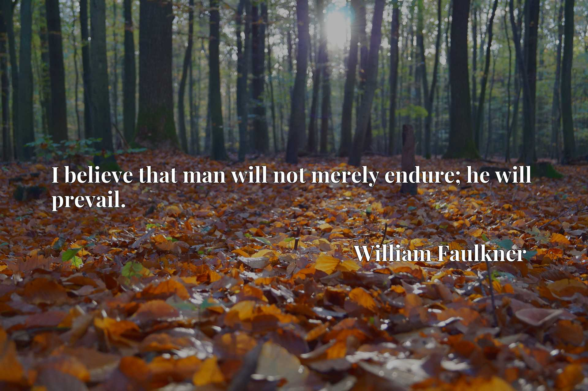 Quote Picture :I believe that man will not merely endure; he will prevail.