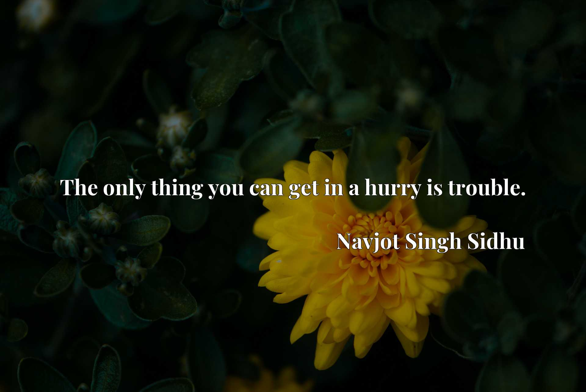 Quote Picture :The only thing you can get in a hurry is trouble.